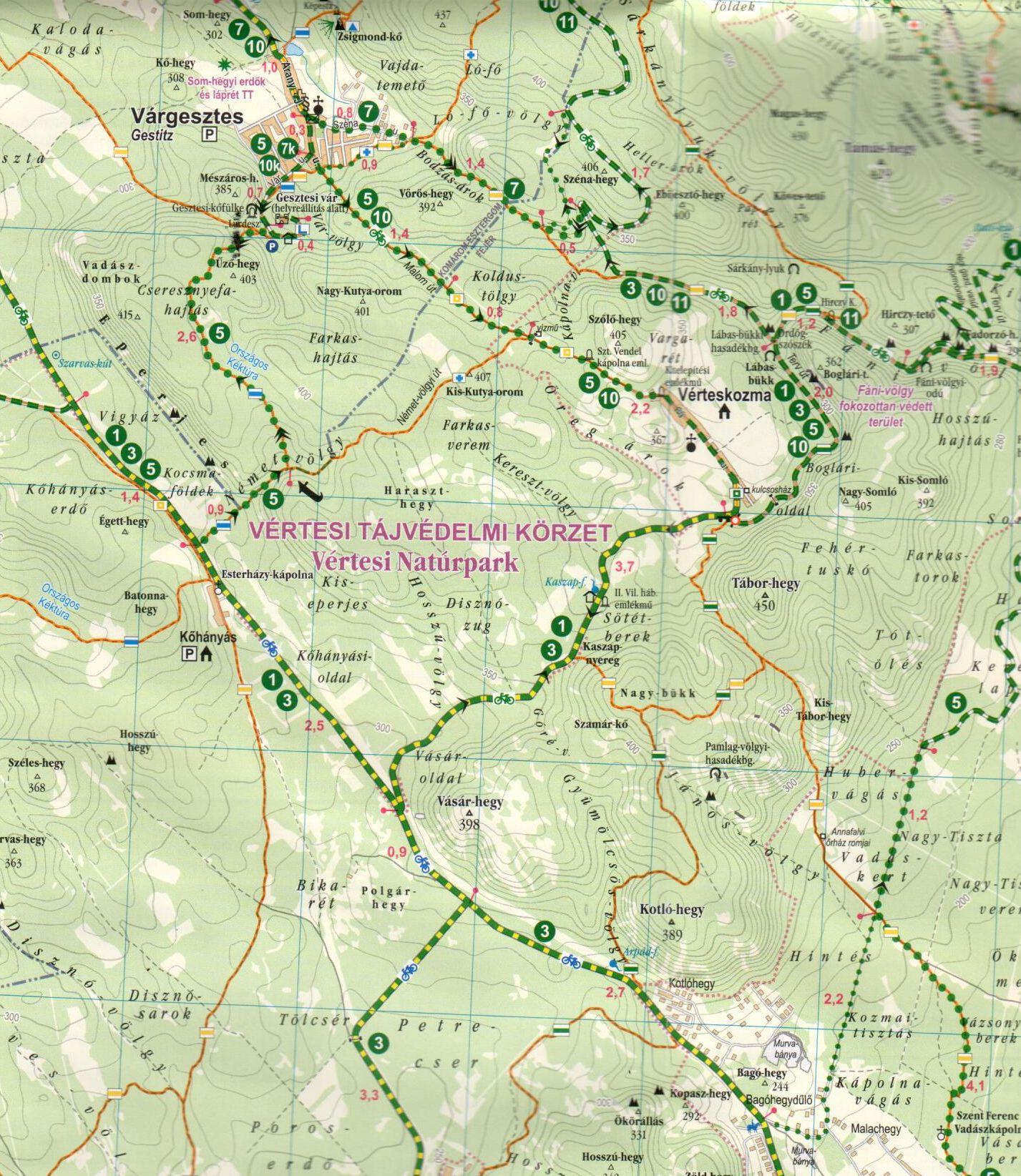 Vértes biciklis térkép minta