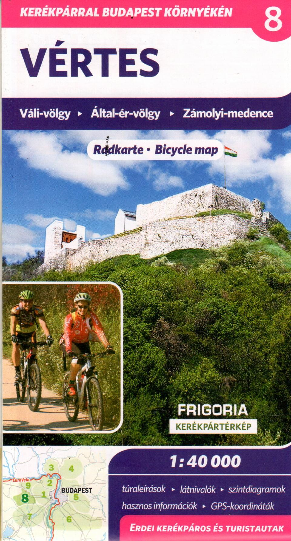 Vértes és környéke biciklis térkép túraútvonalak ajánlásával, magassági grafikonokkal, fényképekkel