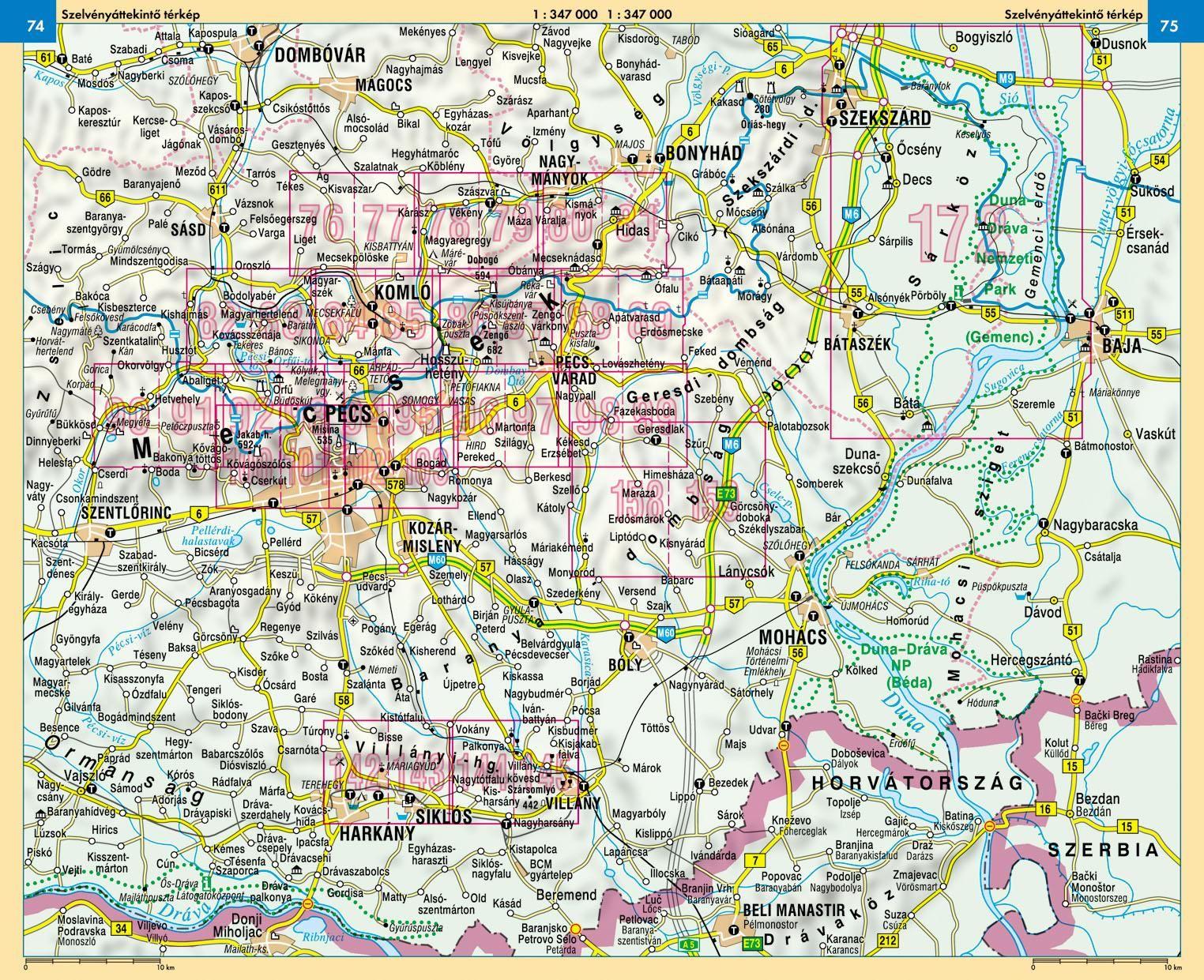 Mecsek / Villányi-hg atlasz áttekintő térkép