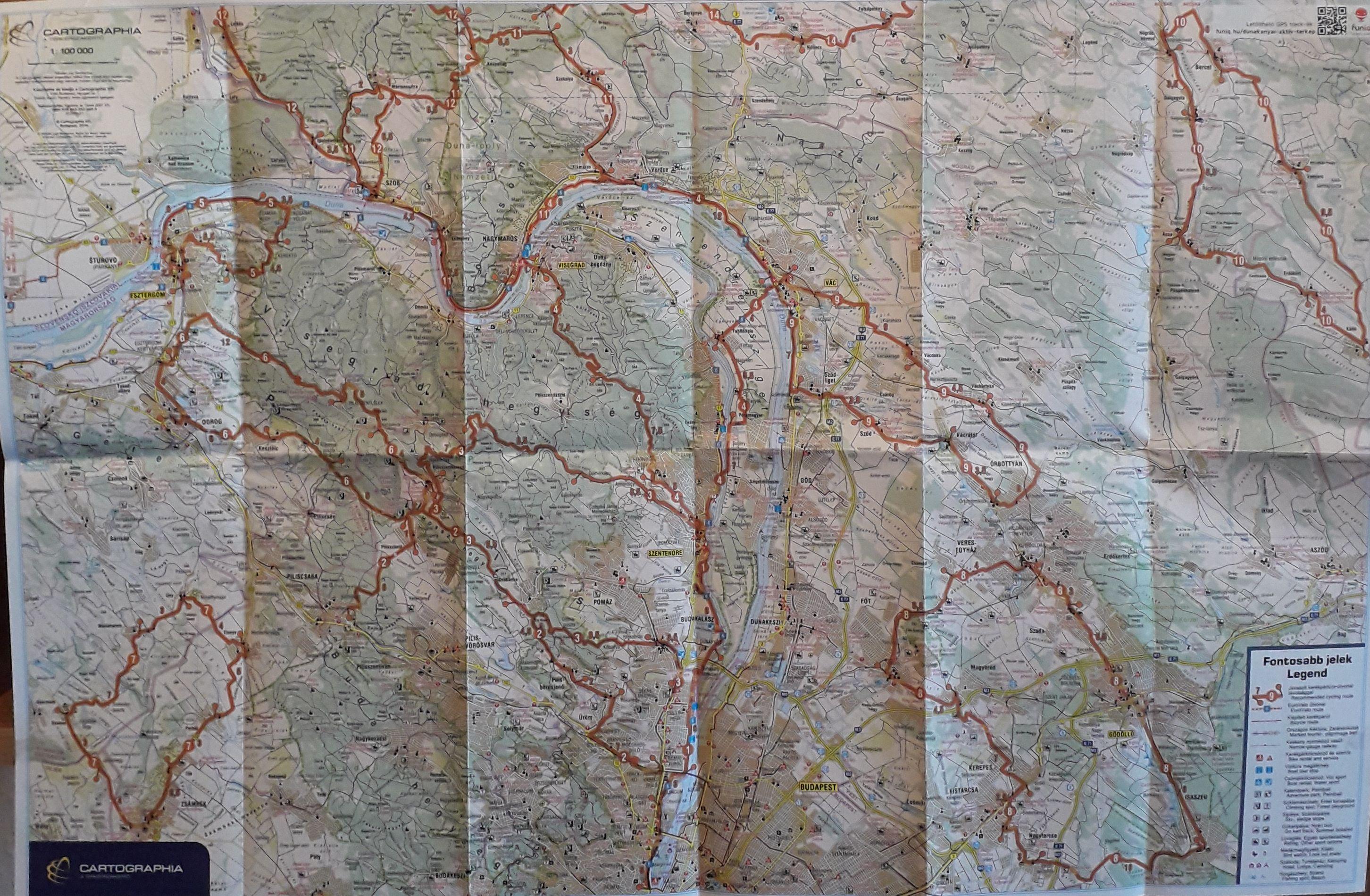 A Dunakanyar aktív térkép hátoldala által lefedett terület