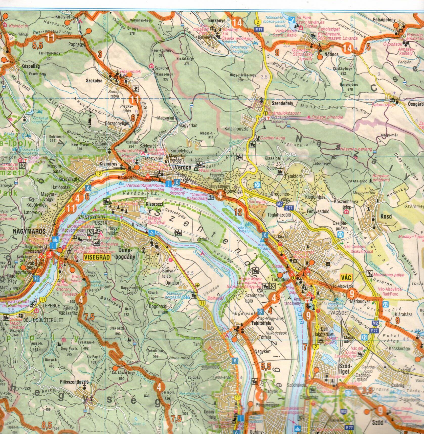 A Dunakanyar aktív térkép mintakivágata