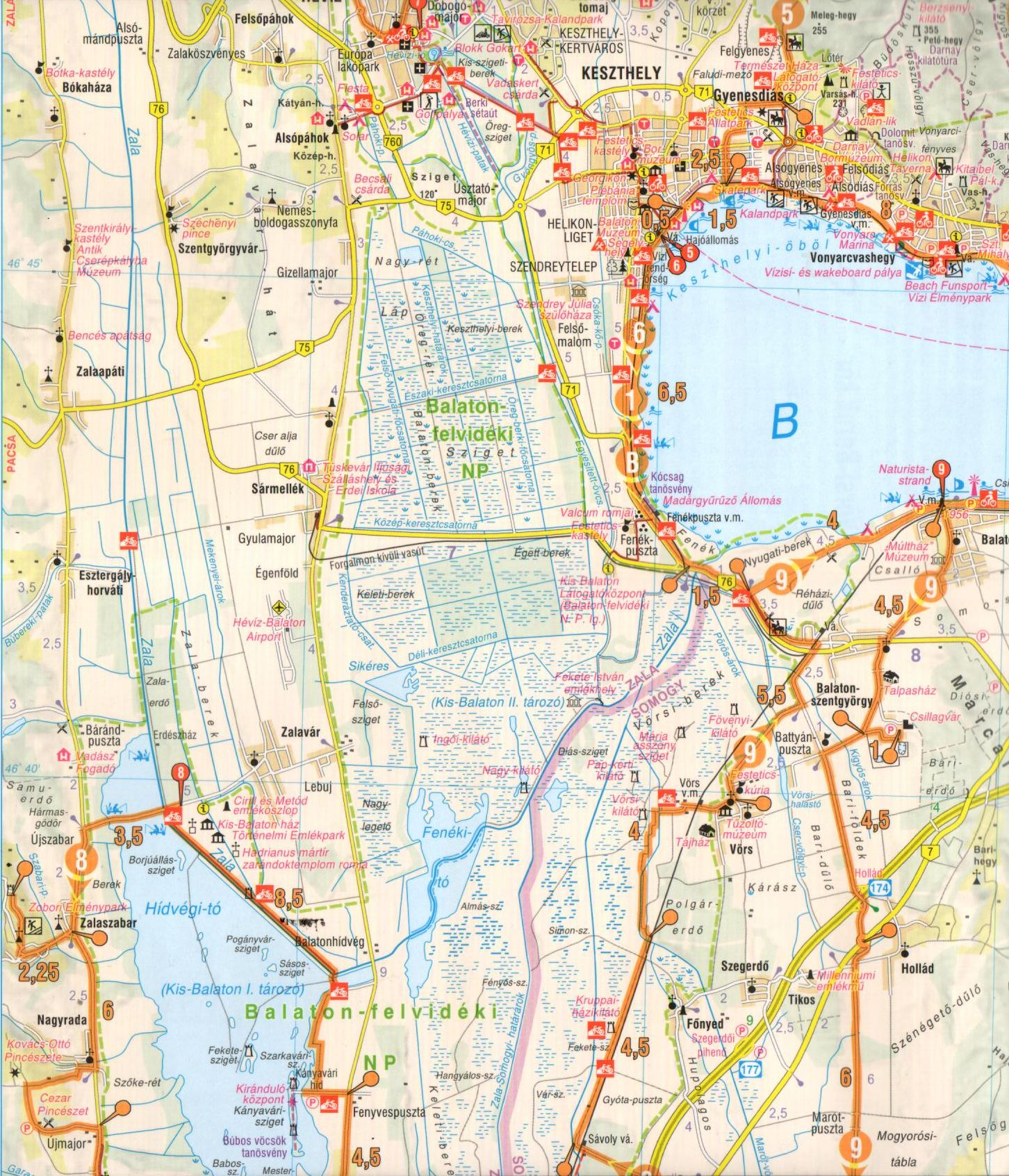 Balaton II. (nyugai rész) aktív térkép mintakivágata