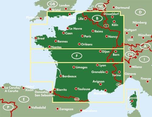 A Franciaország autótérkép által lefedett terület