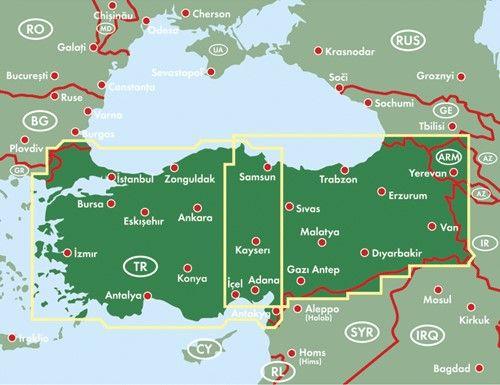 A Törökország térkép által lefedett terület