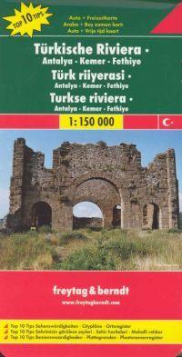 Részletes autós és turistatérkép várostérképekkel (Antalya - Side - Alanya), településjegyzékkel