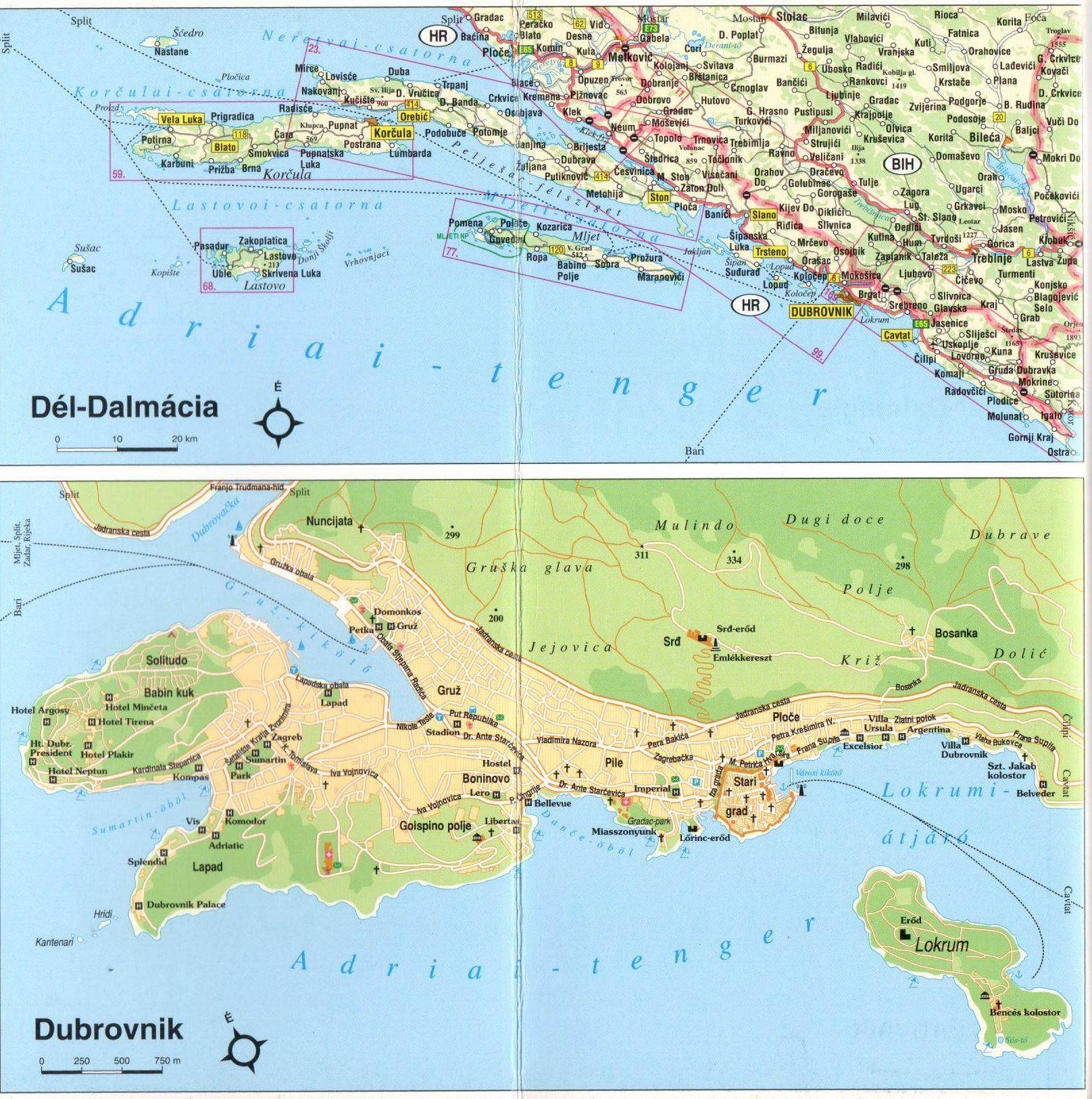Dalmácia déli része áttekintő térkép