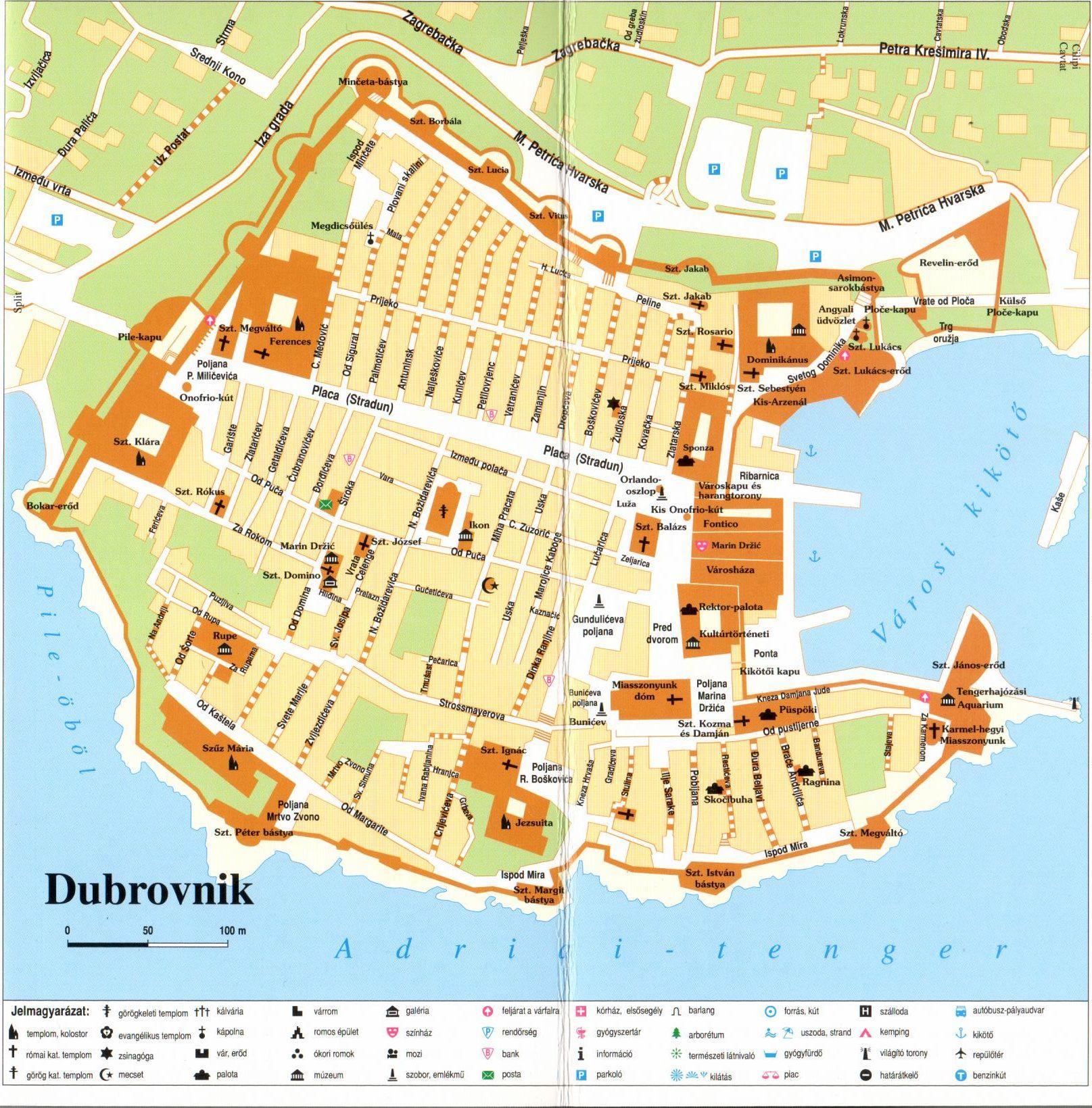 Dalmácia déli része: várostérkép minta (Dubrovnik)