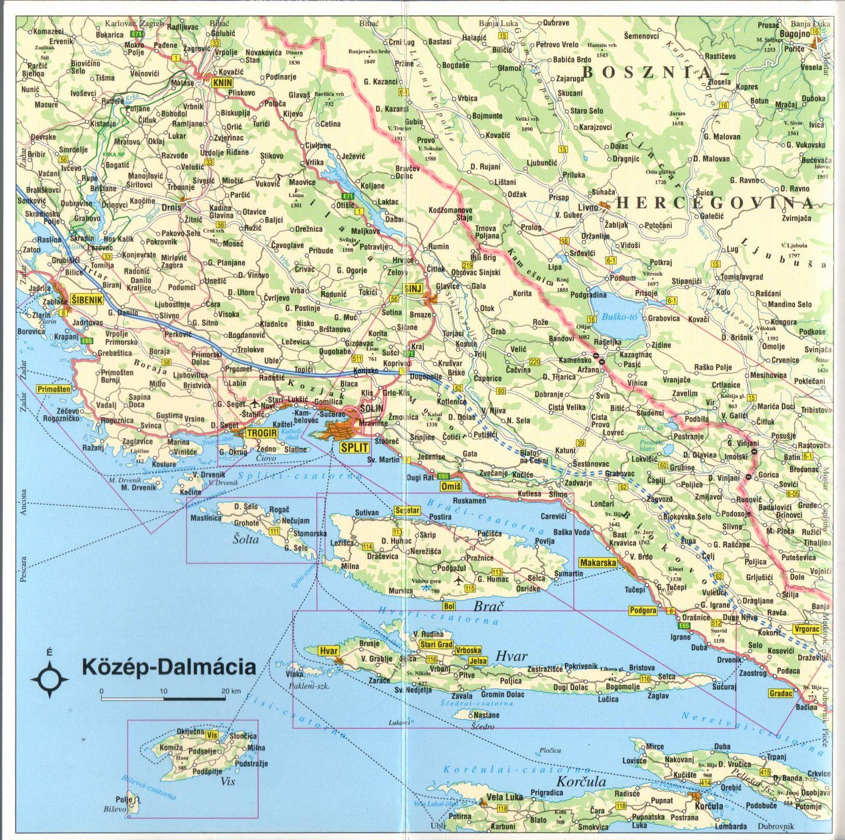 Dalmácia középső része áttekintő térkép