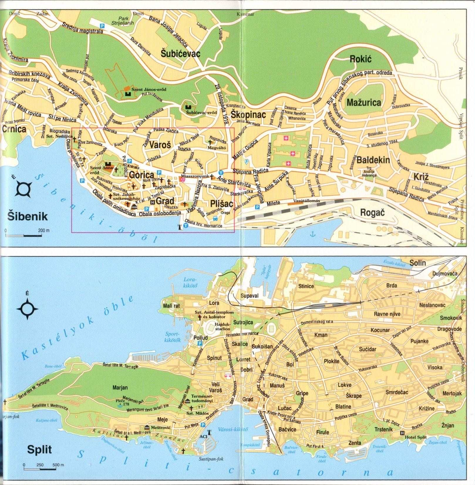Dalmácia középső része várostérkép minta (Split)