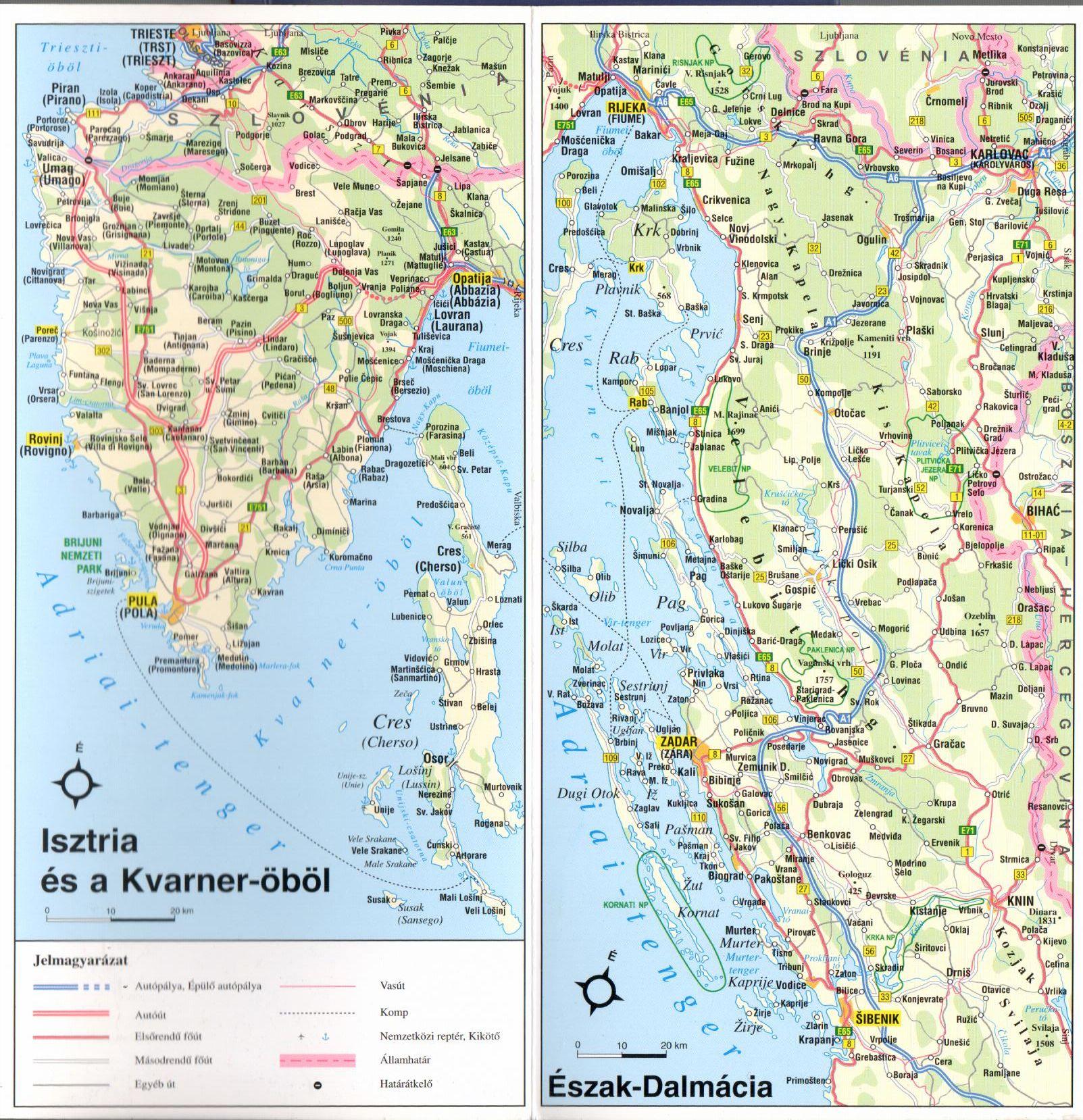 A horvát Adria áttekintőtérkép 1