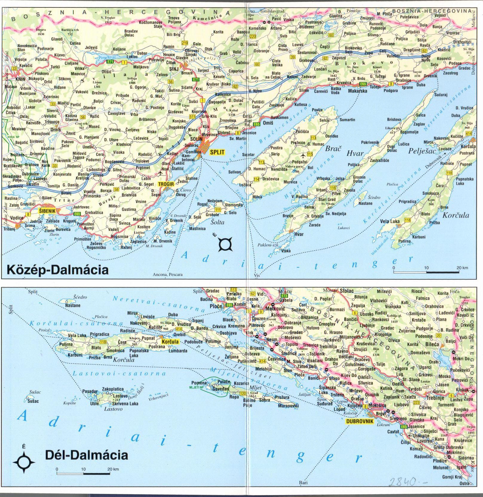 A horvát Adria áttekintőtérkép 2