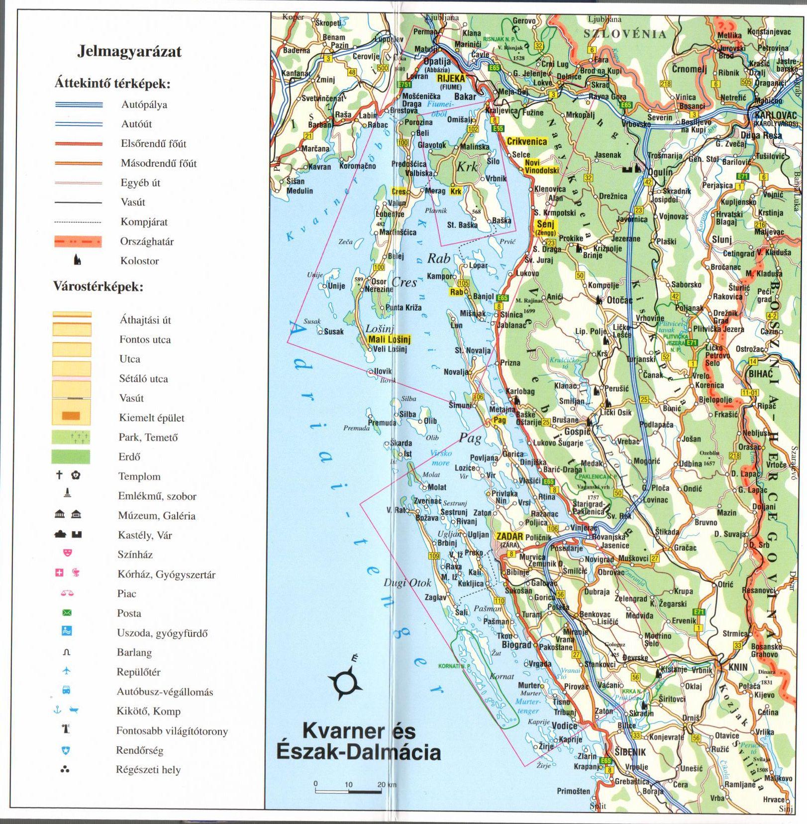 Kvarner-öböl/É-Dalmácia áttekintő térkép