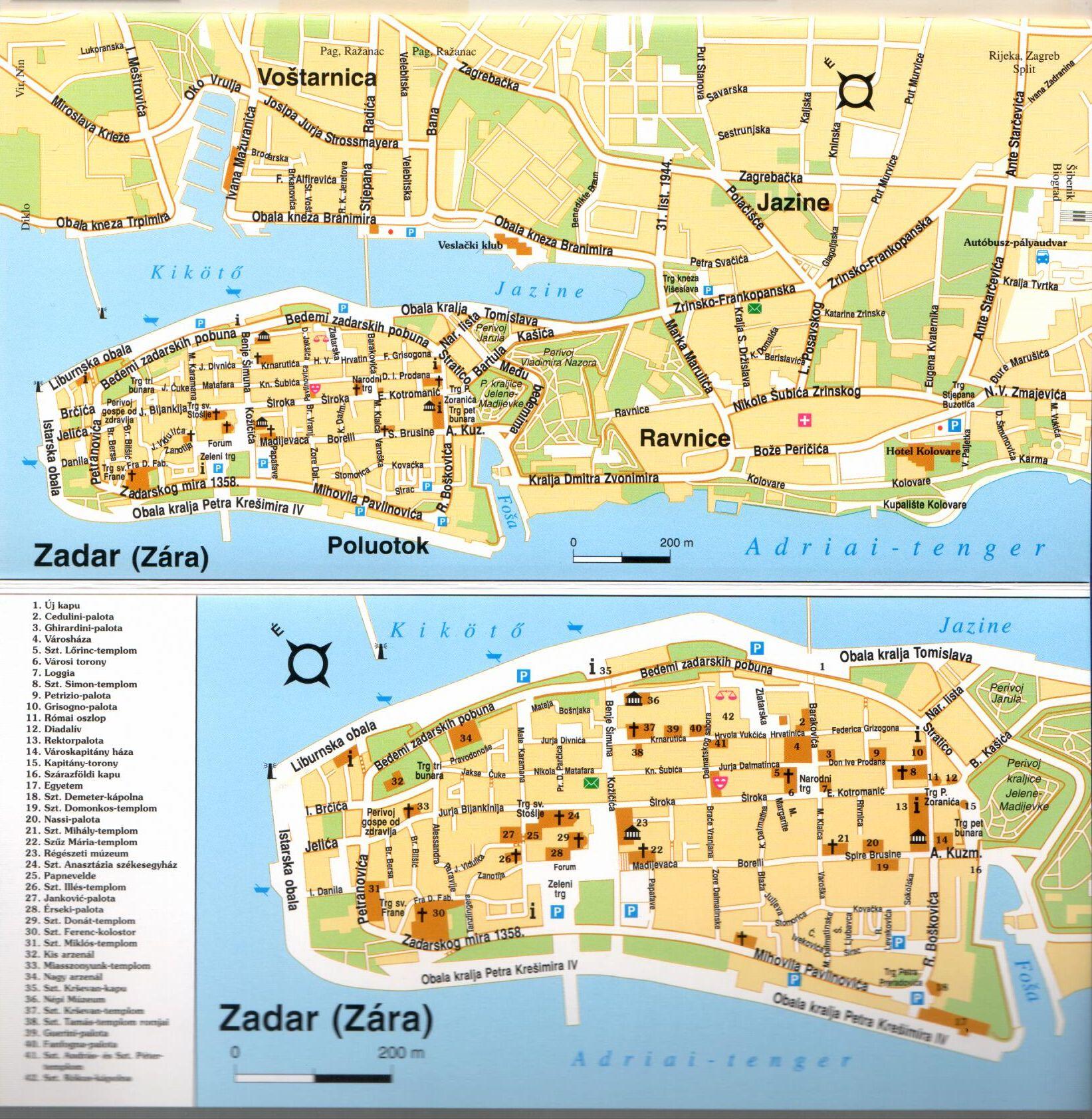Kvarner-öböl/É-Dalmácia várostérkép minta (Zadar)