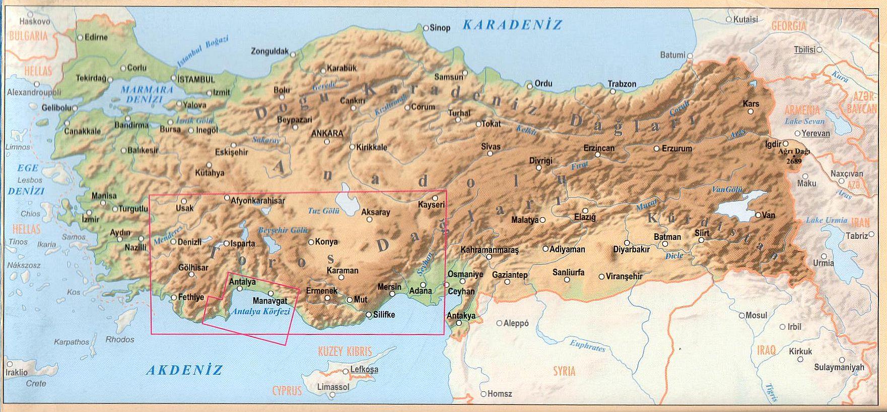 A Török riviéra térkép által lefedett terület