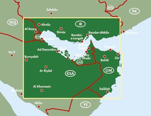 Egyesült Arab Emirátusok, Perzsa-Öböl, Katar, Bahrein, Kuvait térkép által lefedett terület