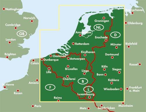 A Benelux országok autótérképe által lfedett terület