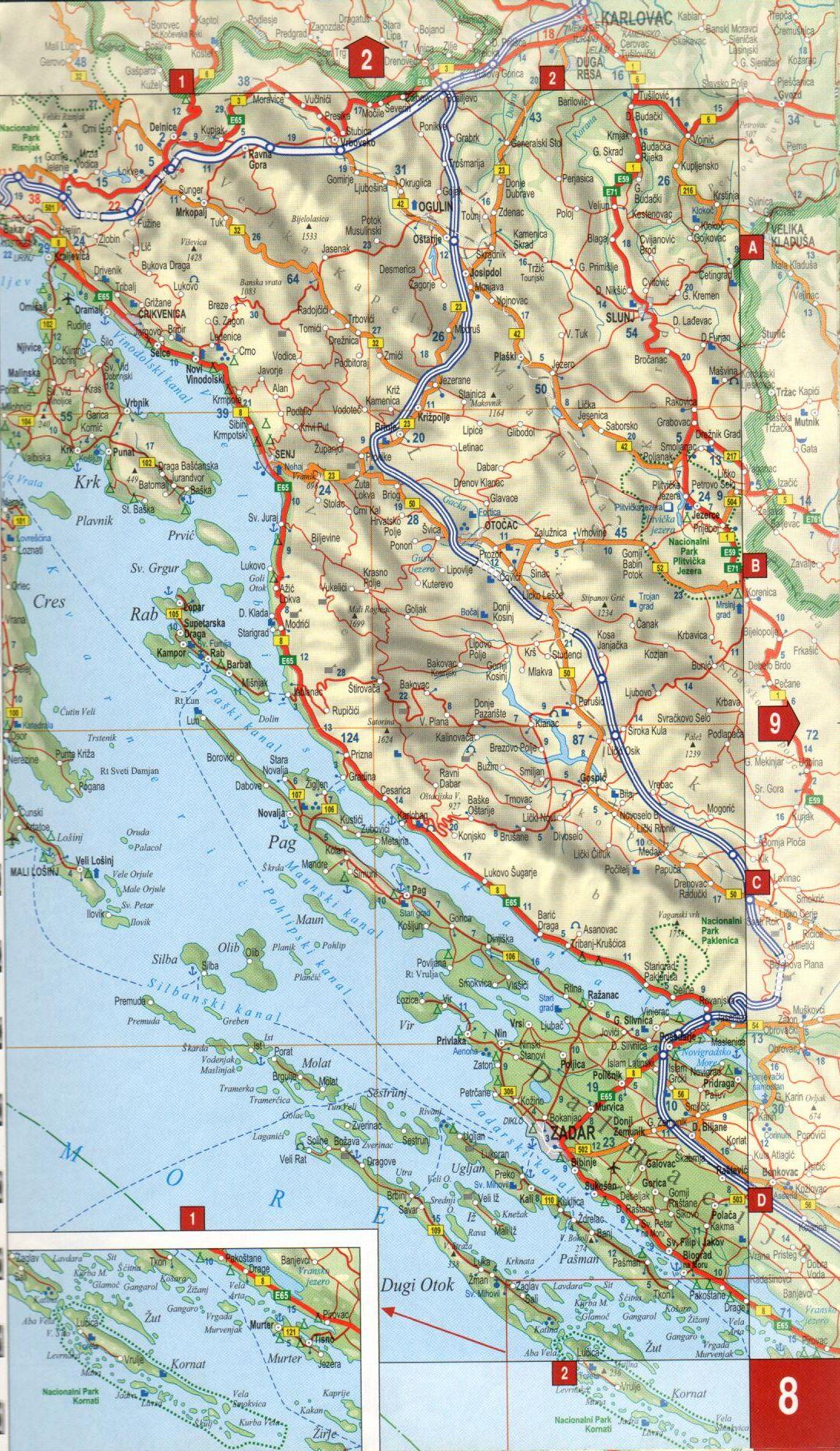Adria atlasz: autótérkép mintakivágat
