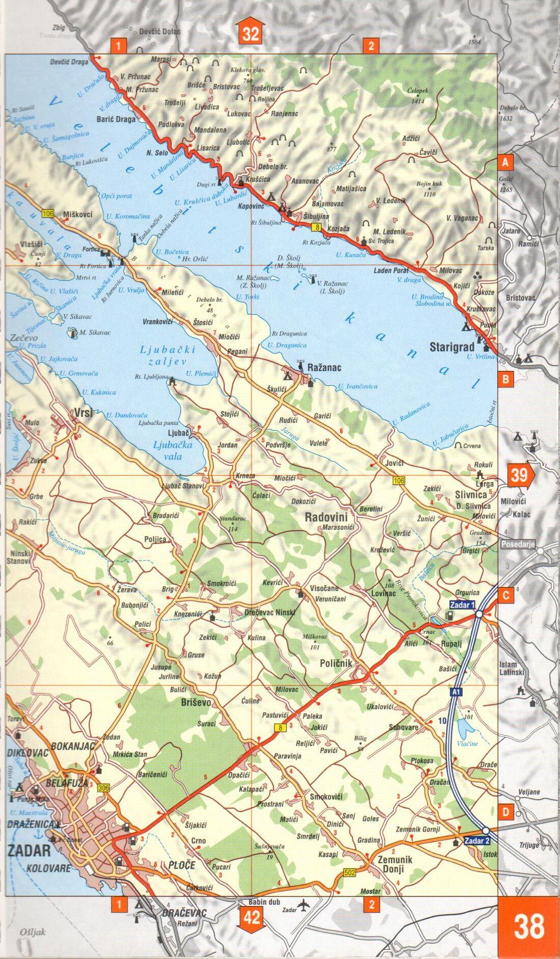 Adria atlasz: 1:160.000-es térkép mintakivágat