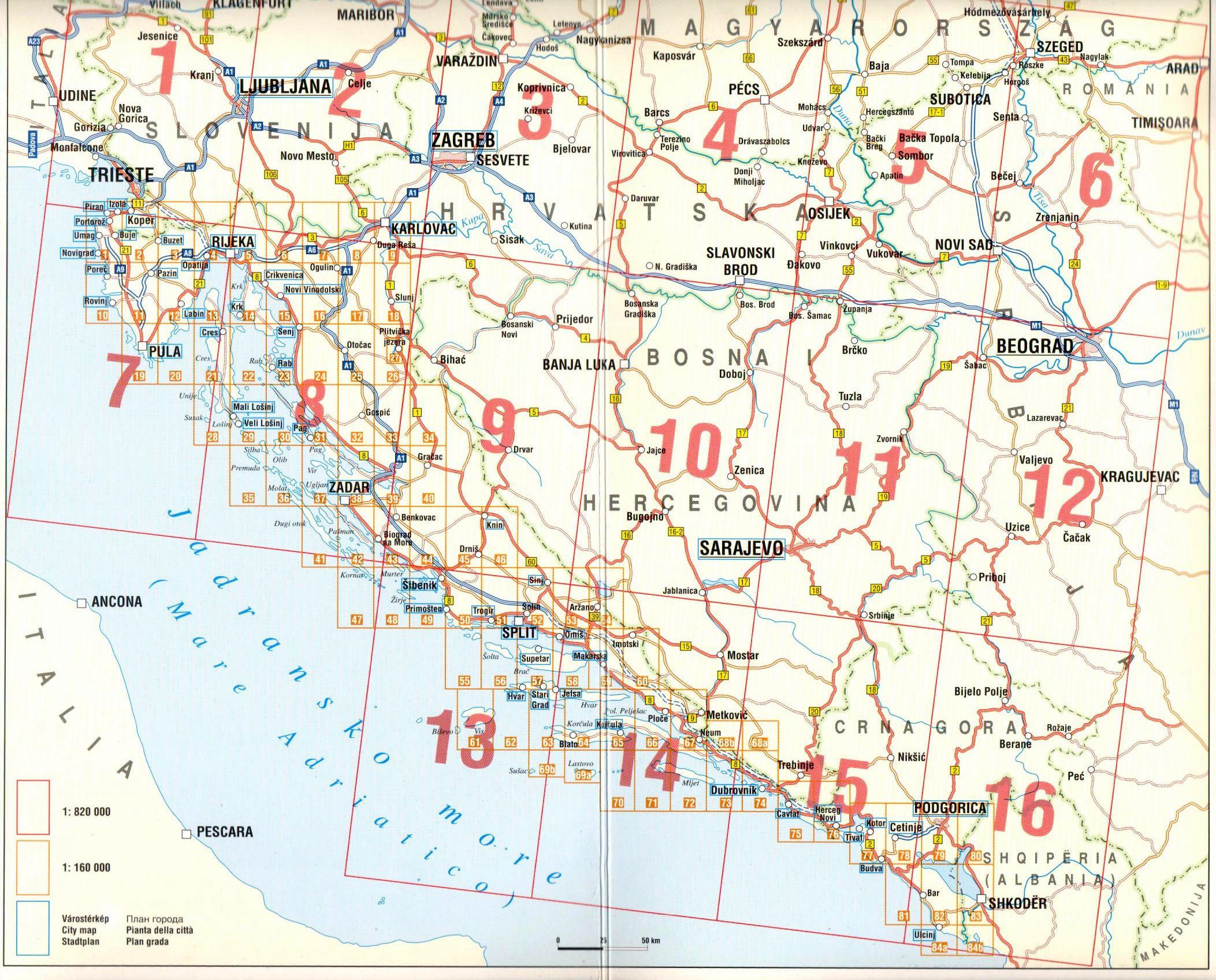 Adria atlasz: áttekintőtérkép a lefedett területről