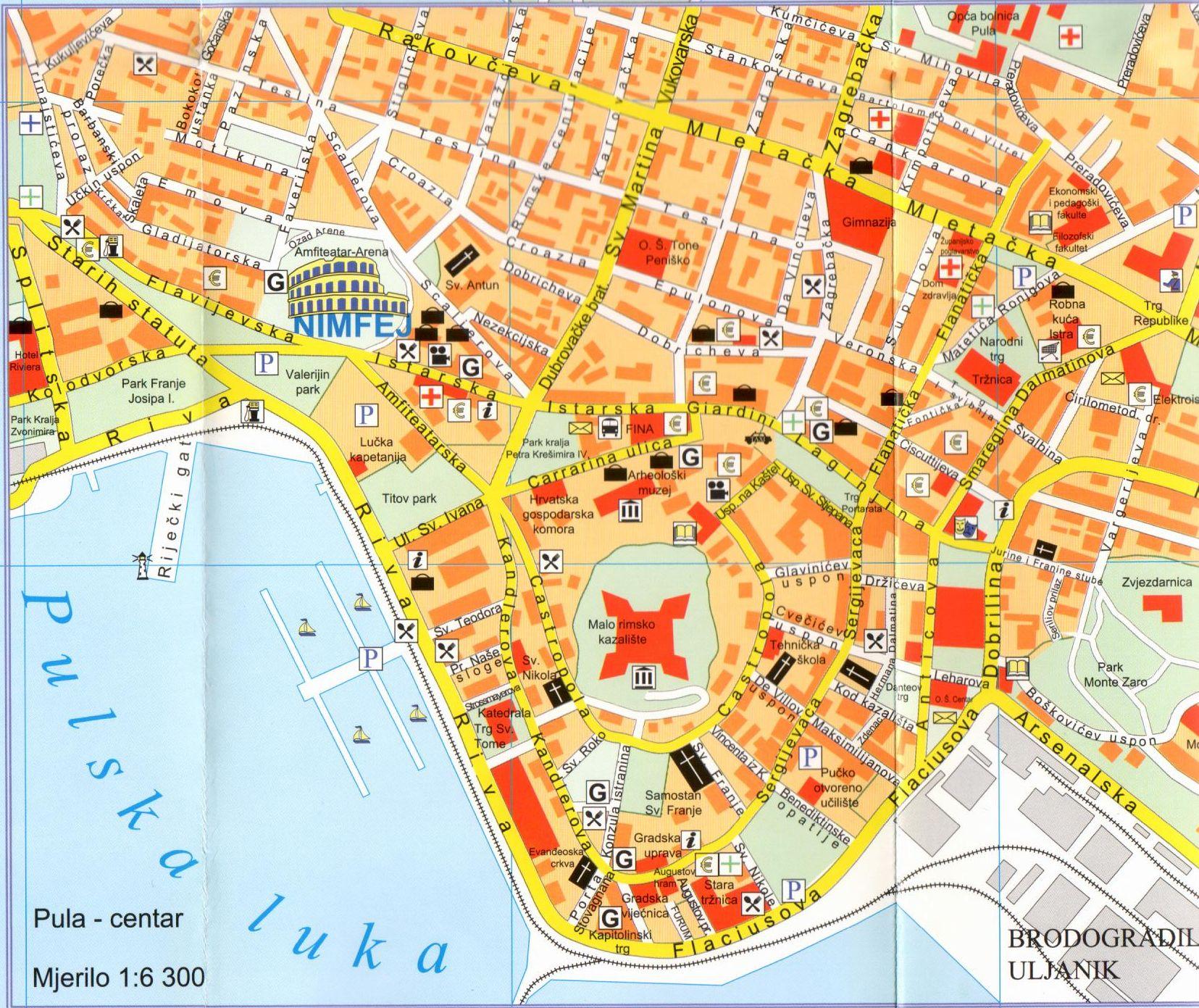 Pula térkép mintakivágat