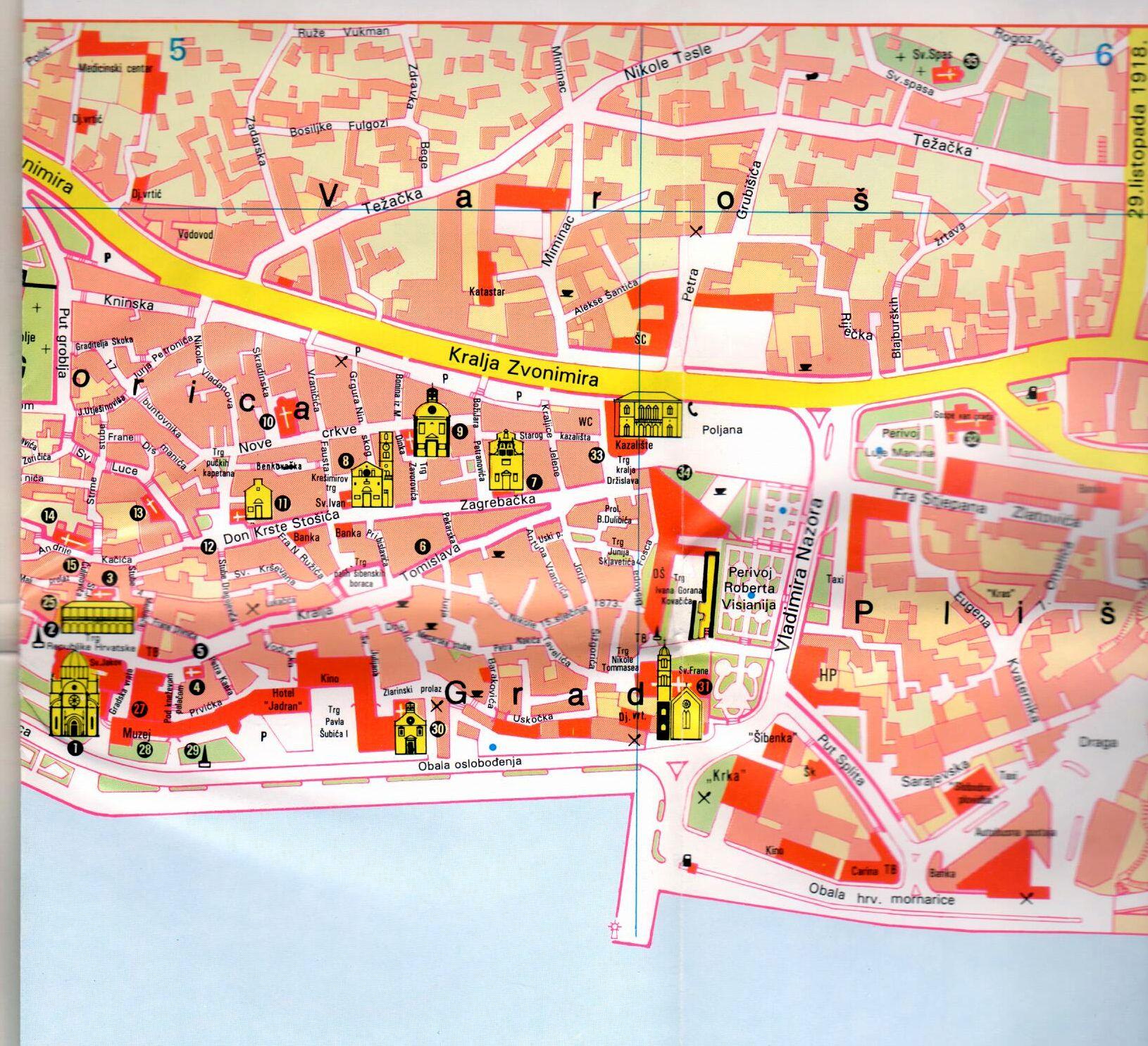 Sibenik térkép mintakivágat