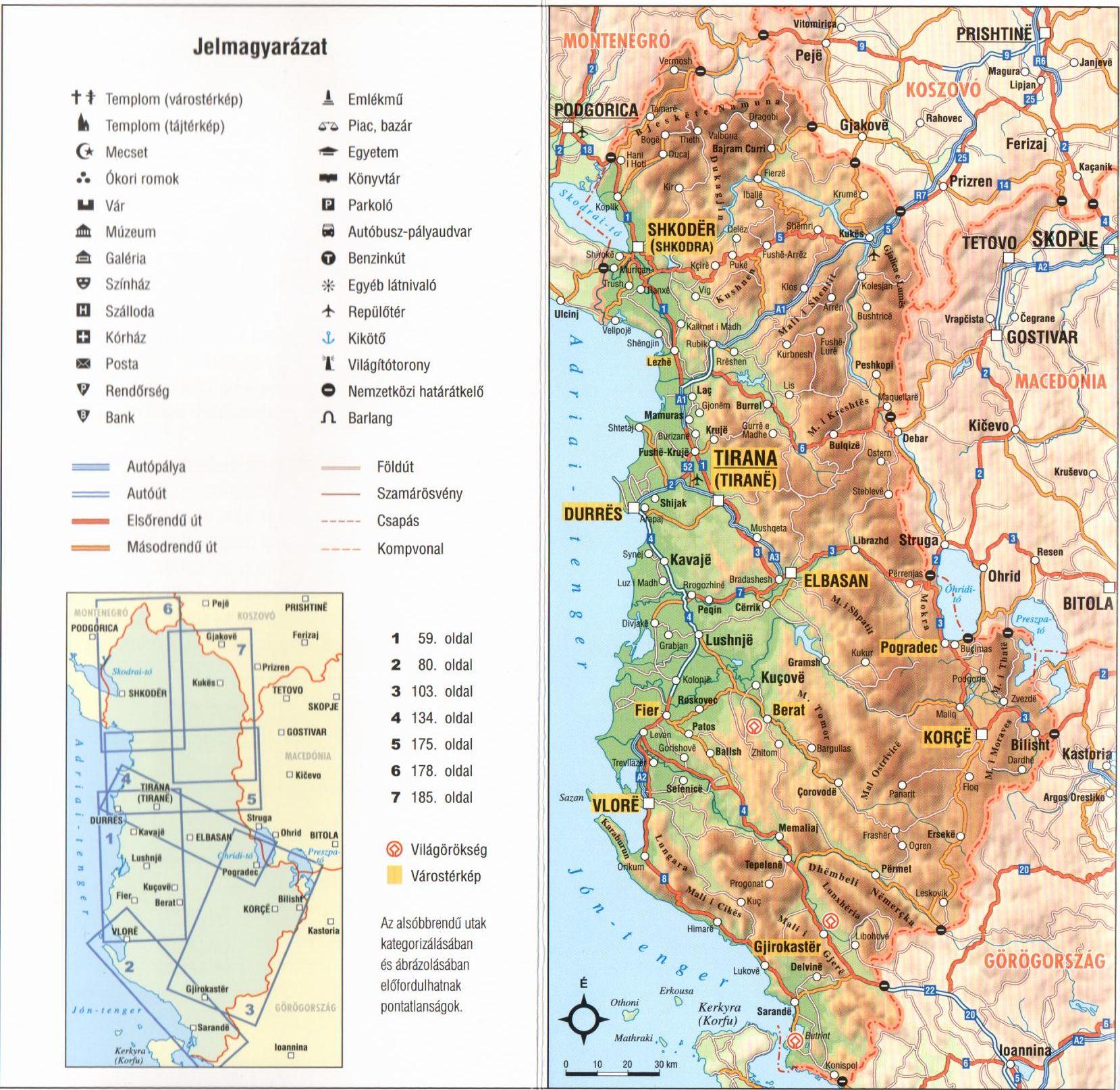 Az Albánia útikönyv áttekintő térképe