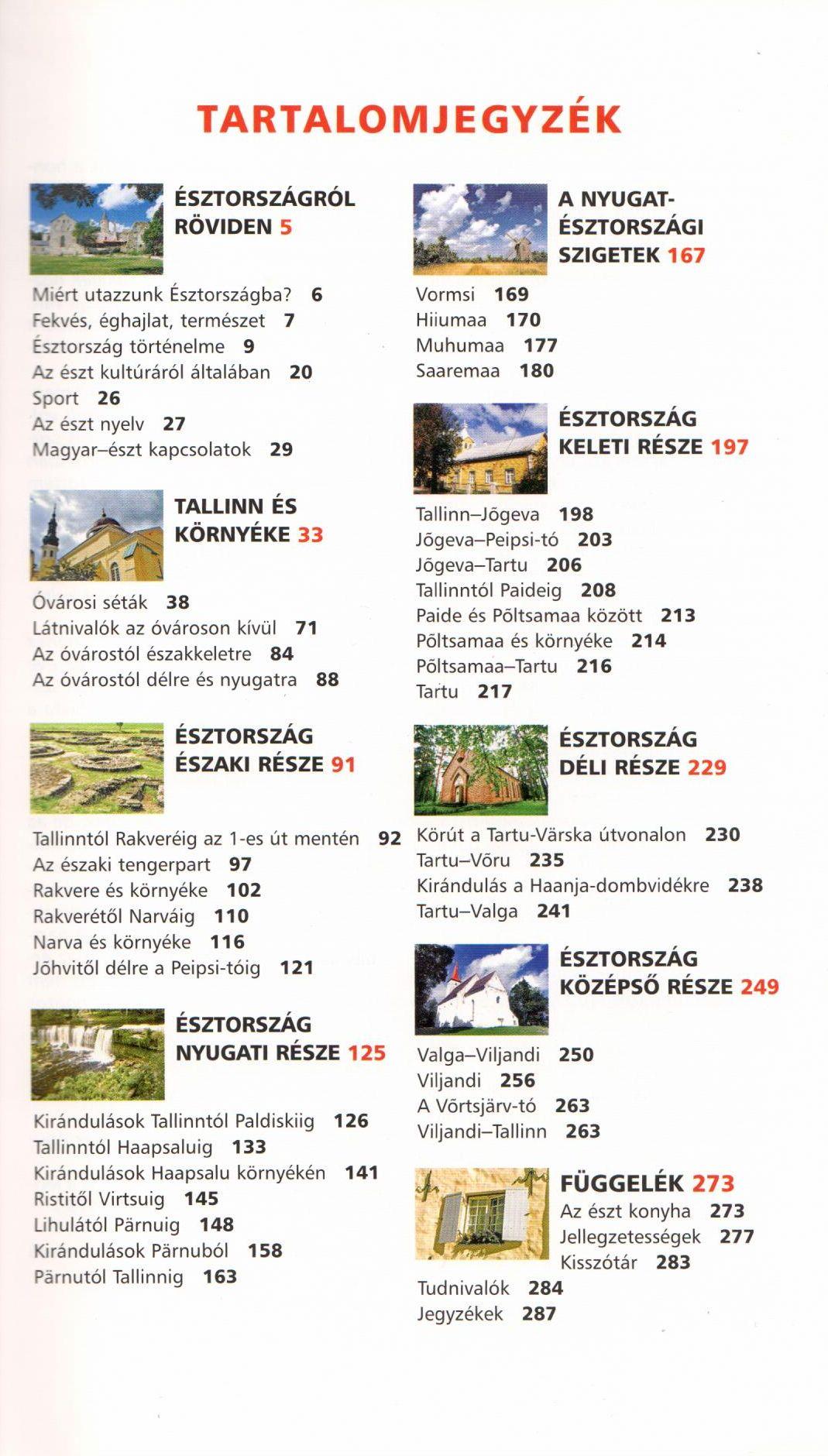 Az Észtország útikönyv tartlaomjegyzéke