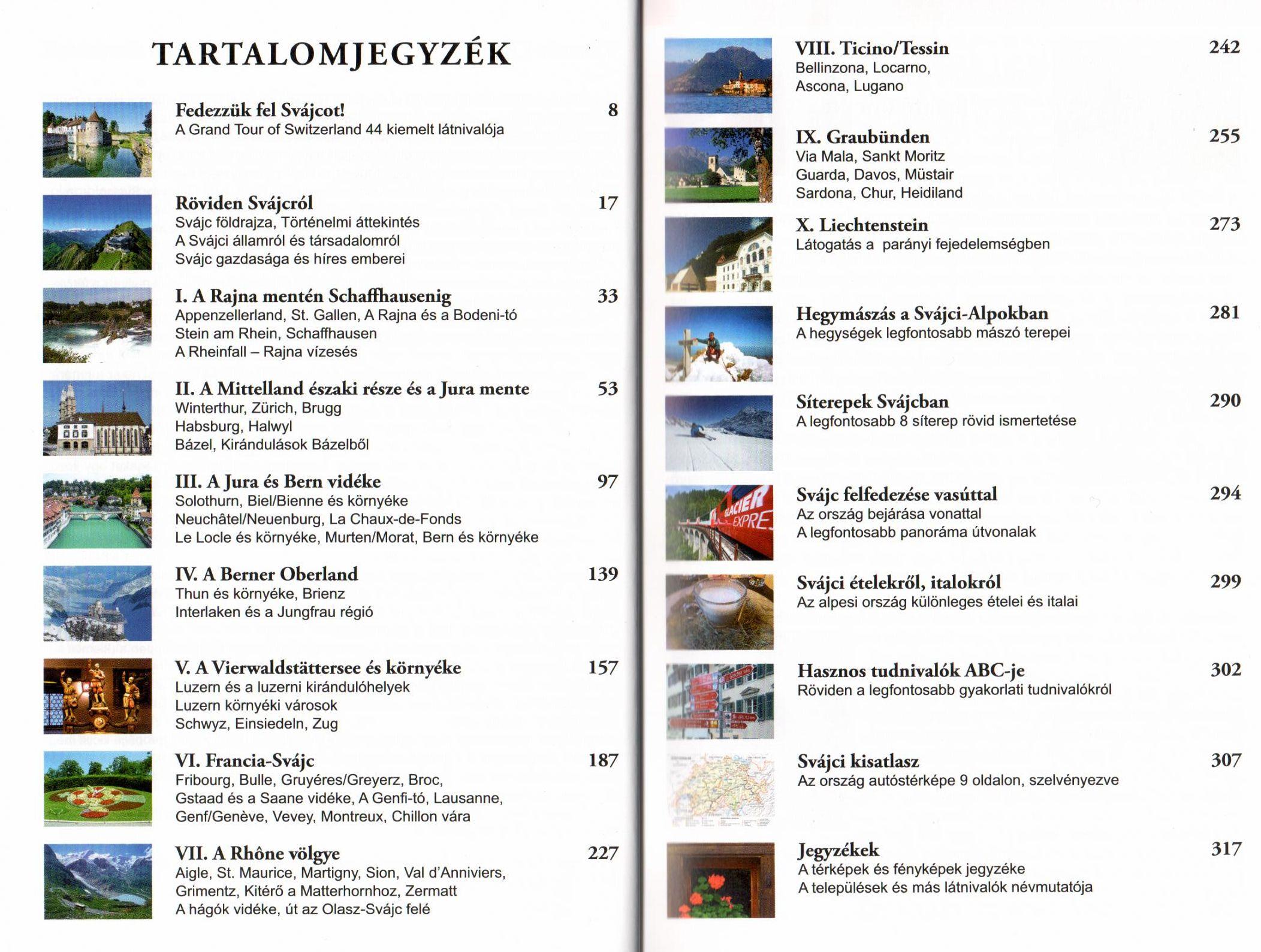 A Svájc útikönyv tartalomjegyzéke