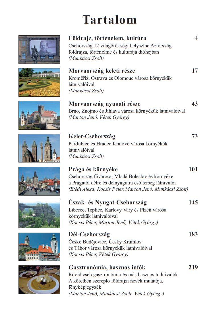 Csehország úőtikönyv: Tartalomjegyzék