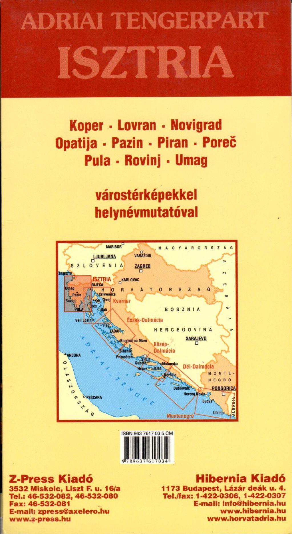 Az Isztria térkép által lefedett terület és a várostérképek
