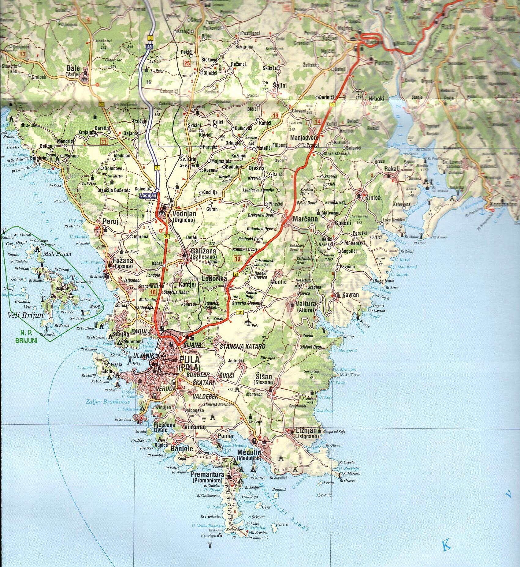 Isztria térkép mintakivágat