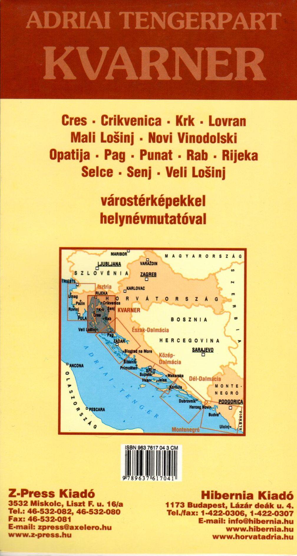 A Kvarner térkép által lefedett terület és a várostérképek