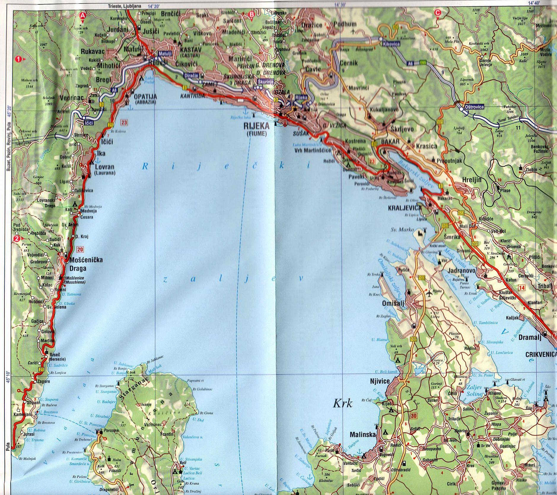Kvarner térkép mintakivágat