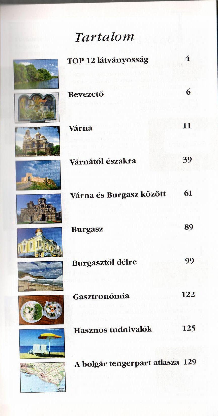 Bolgár tengerpart: tartlomjegyzék