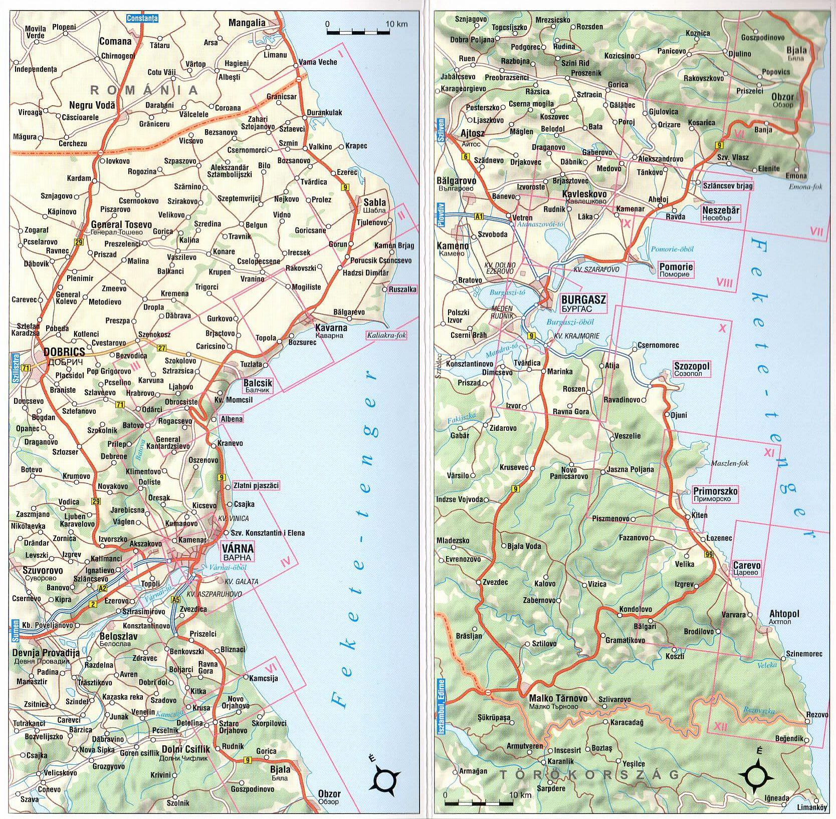 Bolgár tengerpart: áttekintő térkép