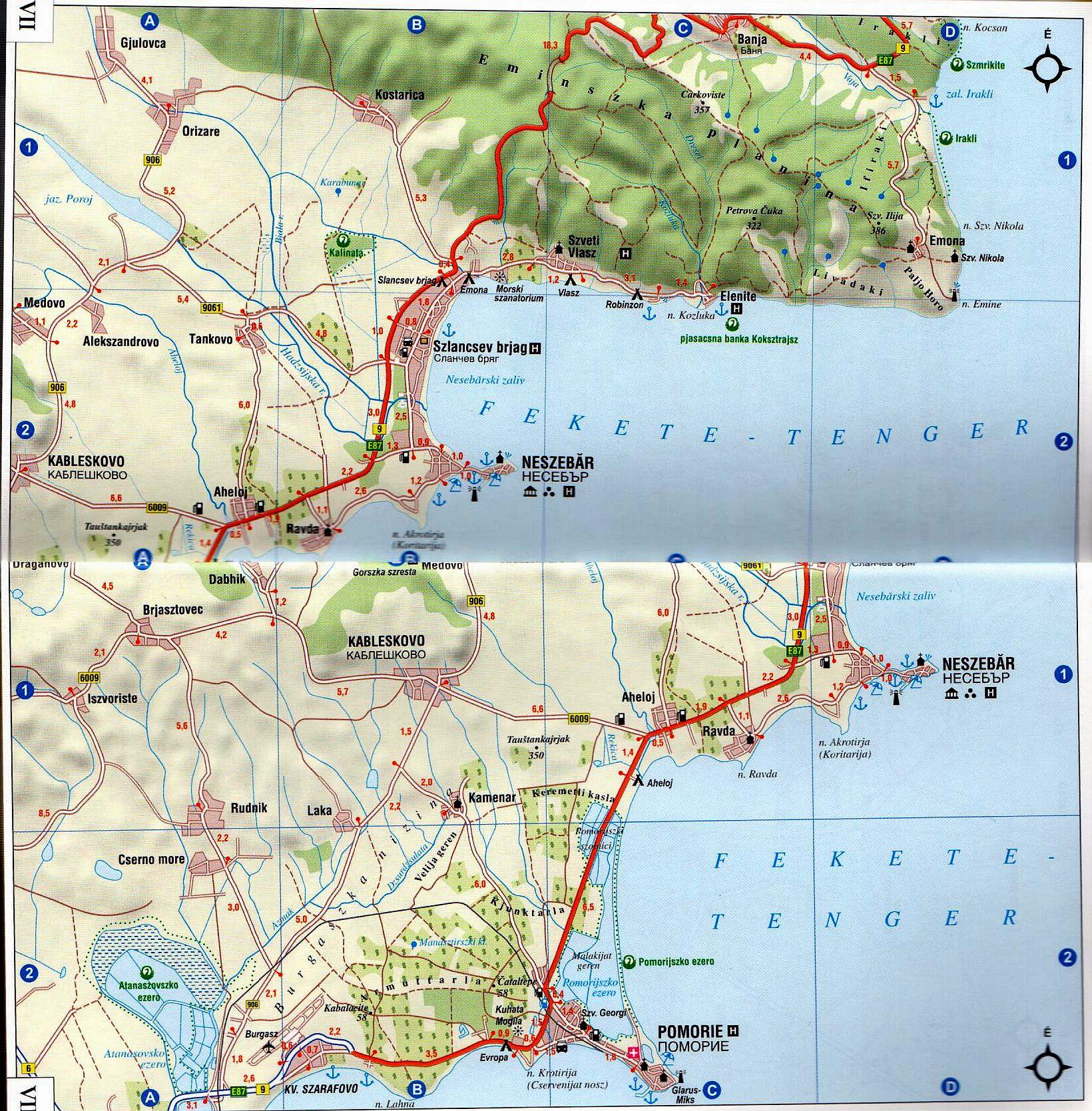 Bolgár tengerpart: térkép minta