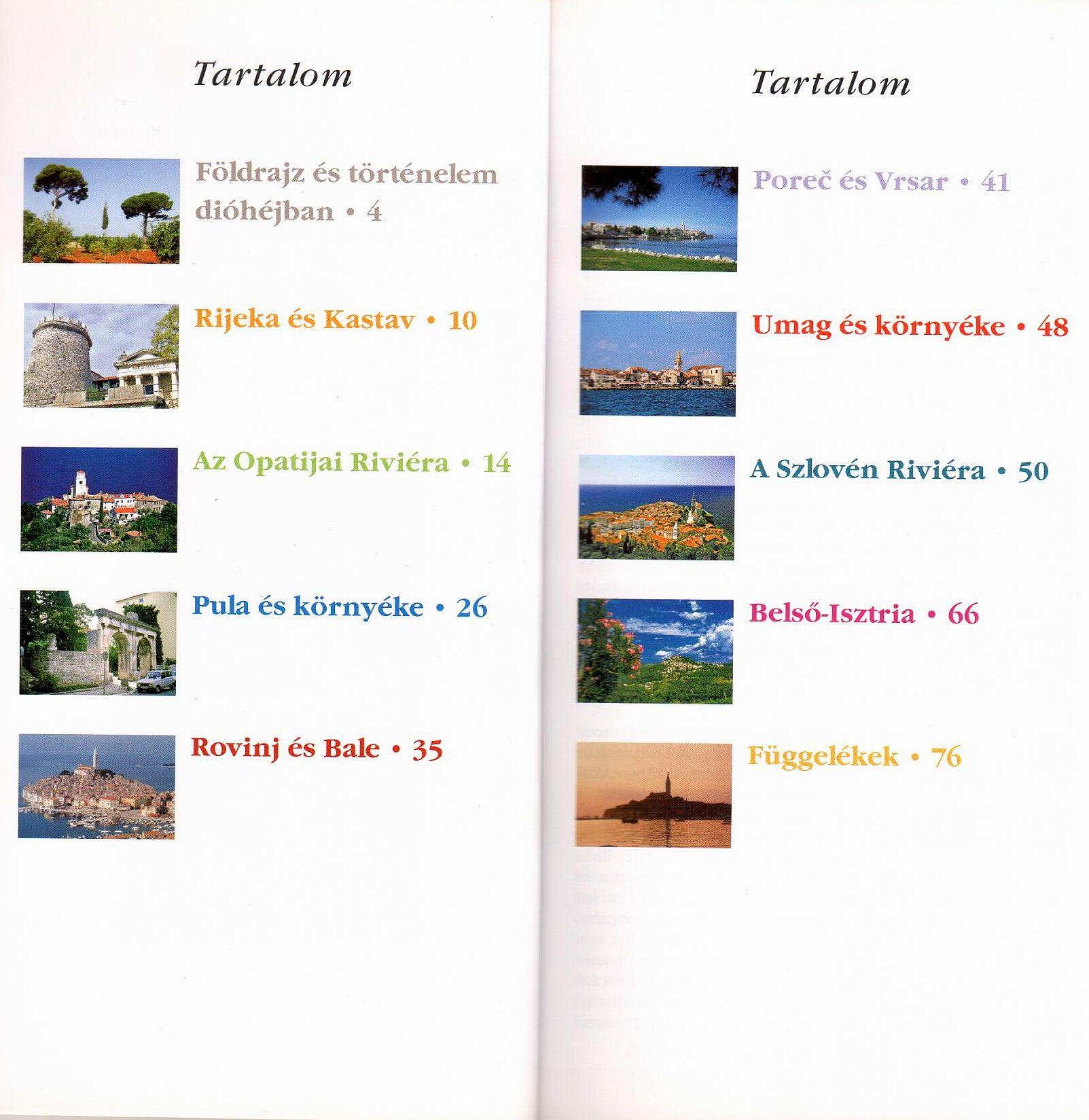 Isztria: tartalomjegyzék