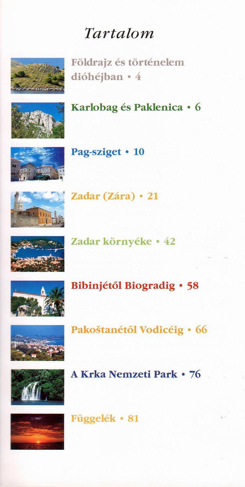 Észak-Dalmácia tartalomjegyzék