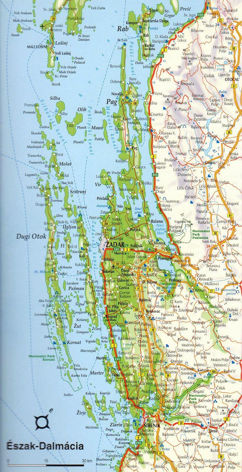 Észak-Dalmácia térkép