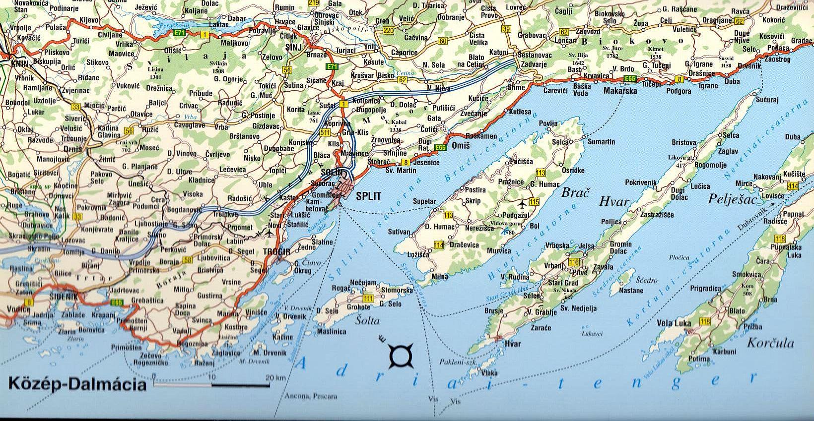 Közép-Dalmácia térkép