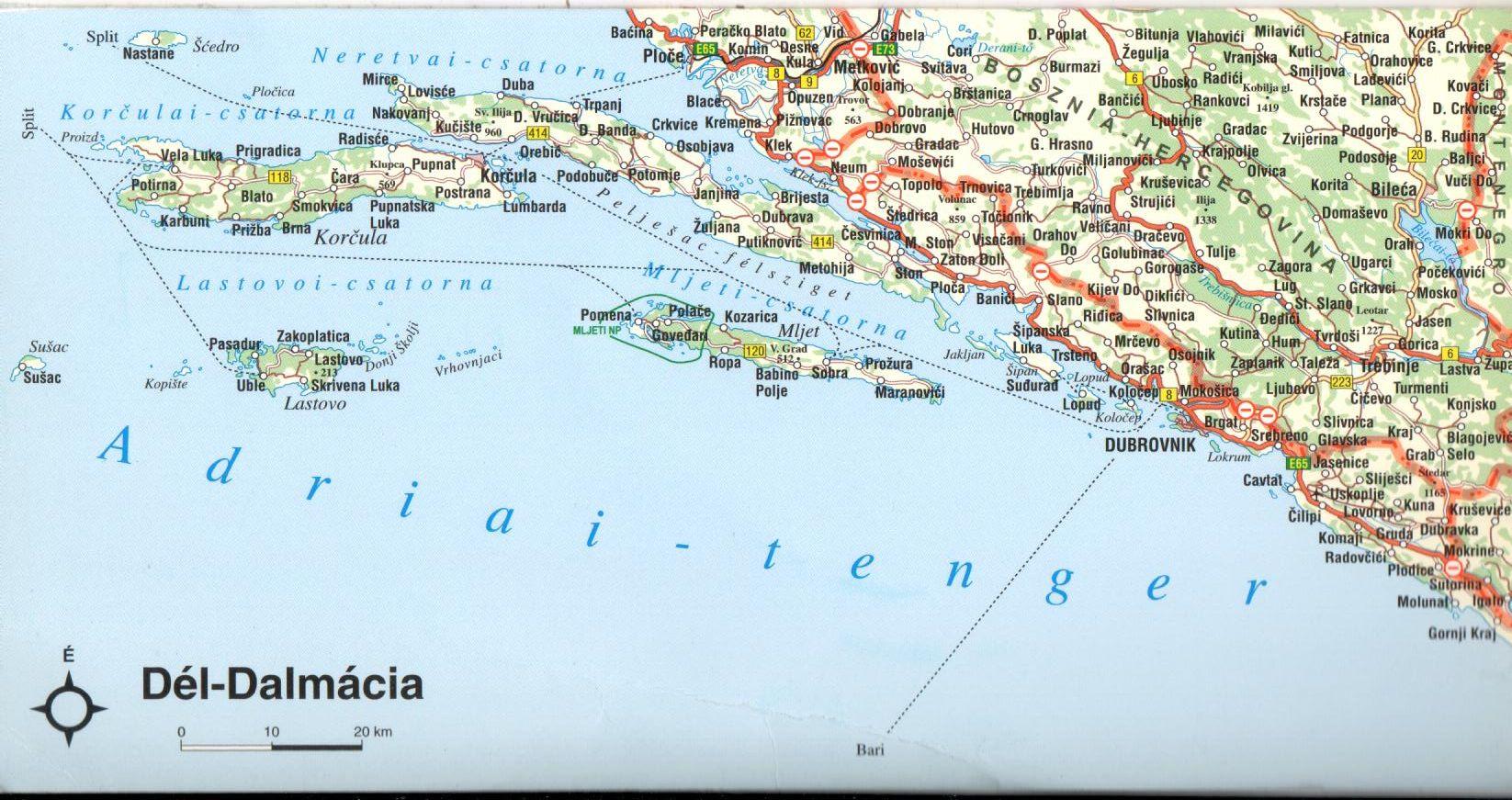 Dél-Dalmácia térkép