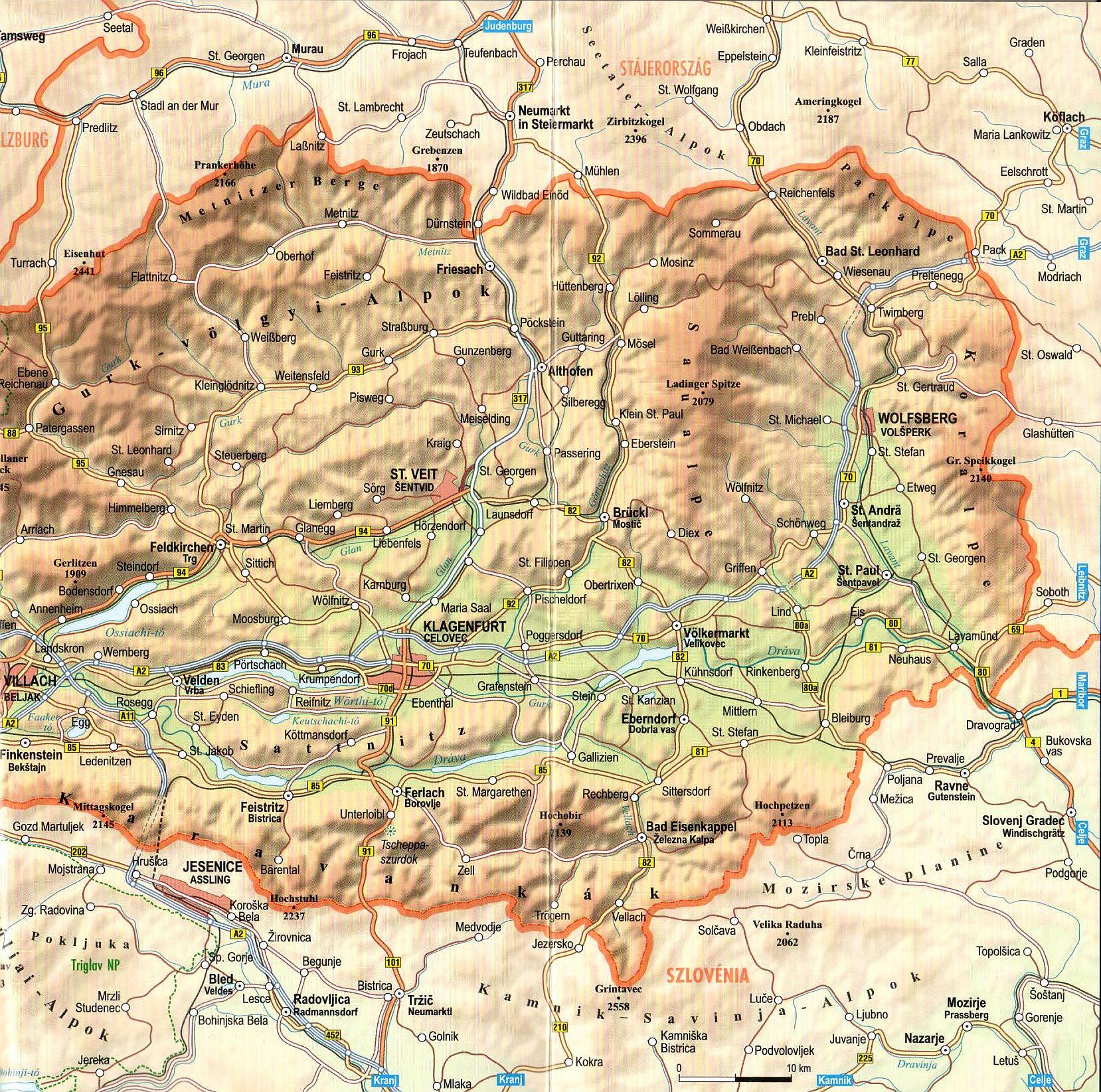 Karintia térkép kivágat
