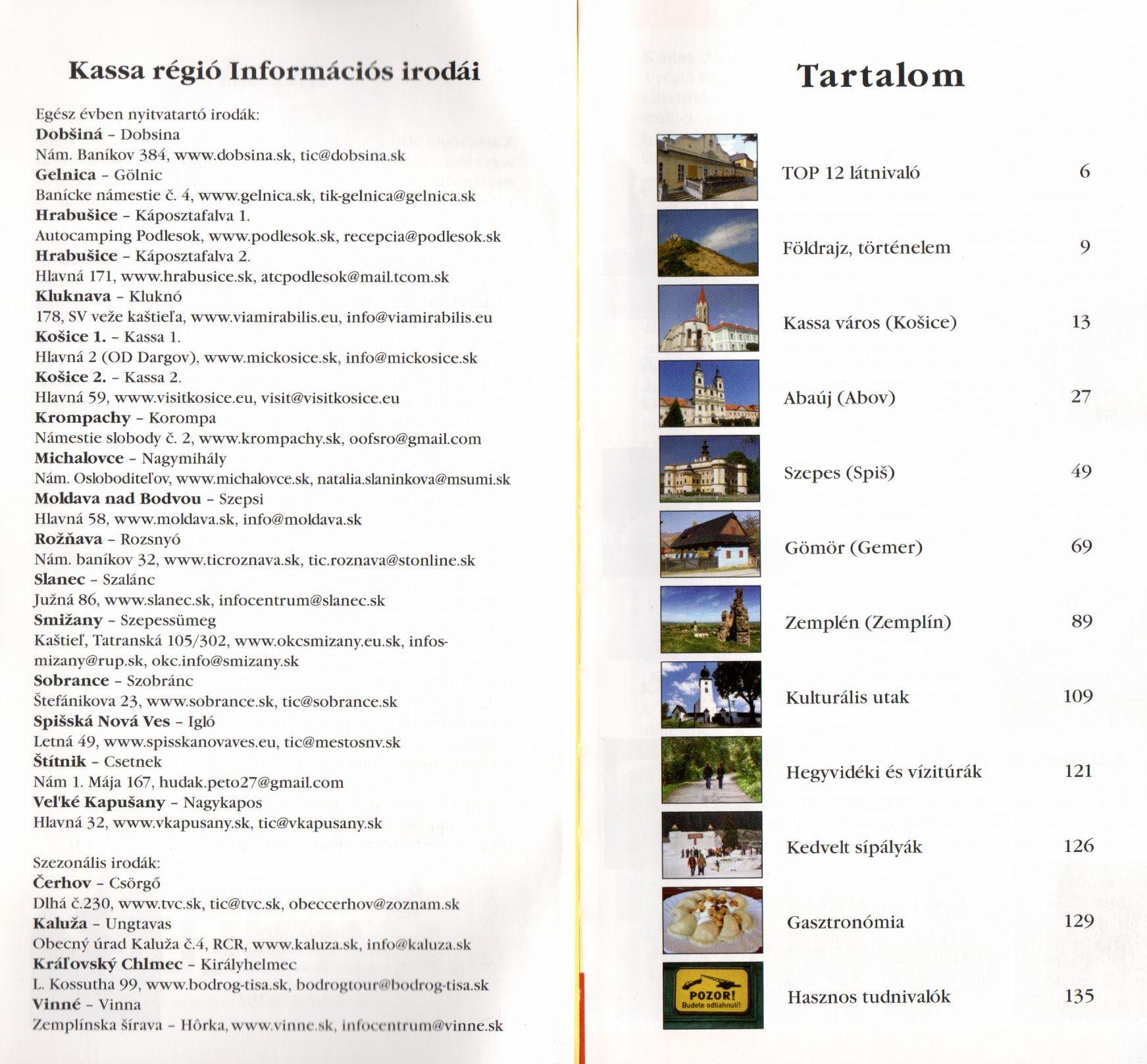 Kassa régió tartalomjegyzék