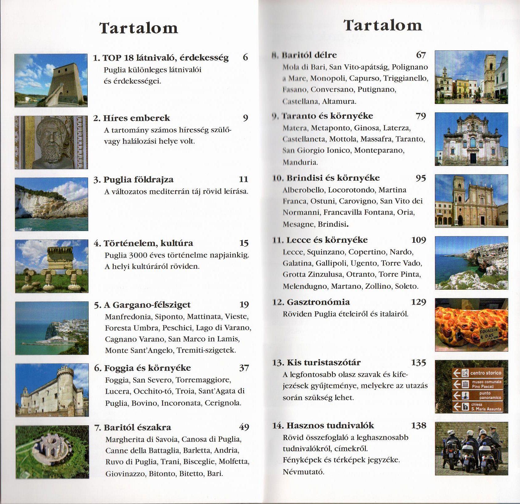 Puglia tartalomjegyzék