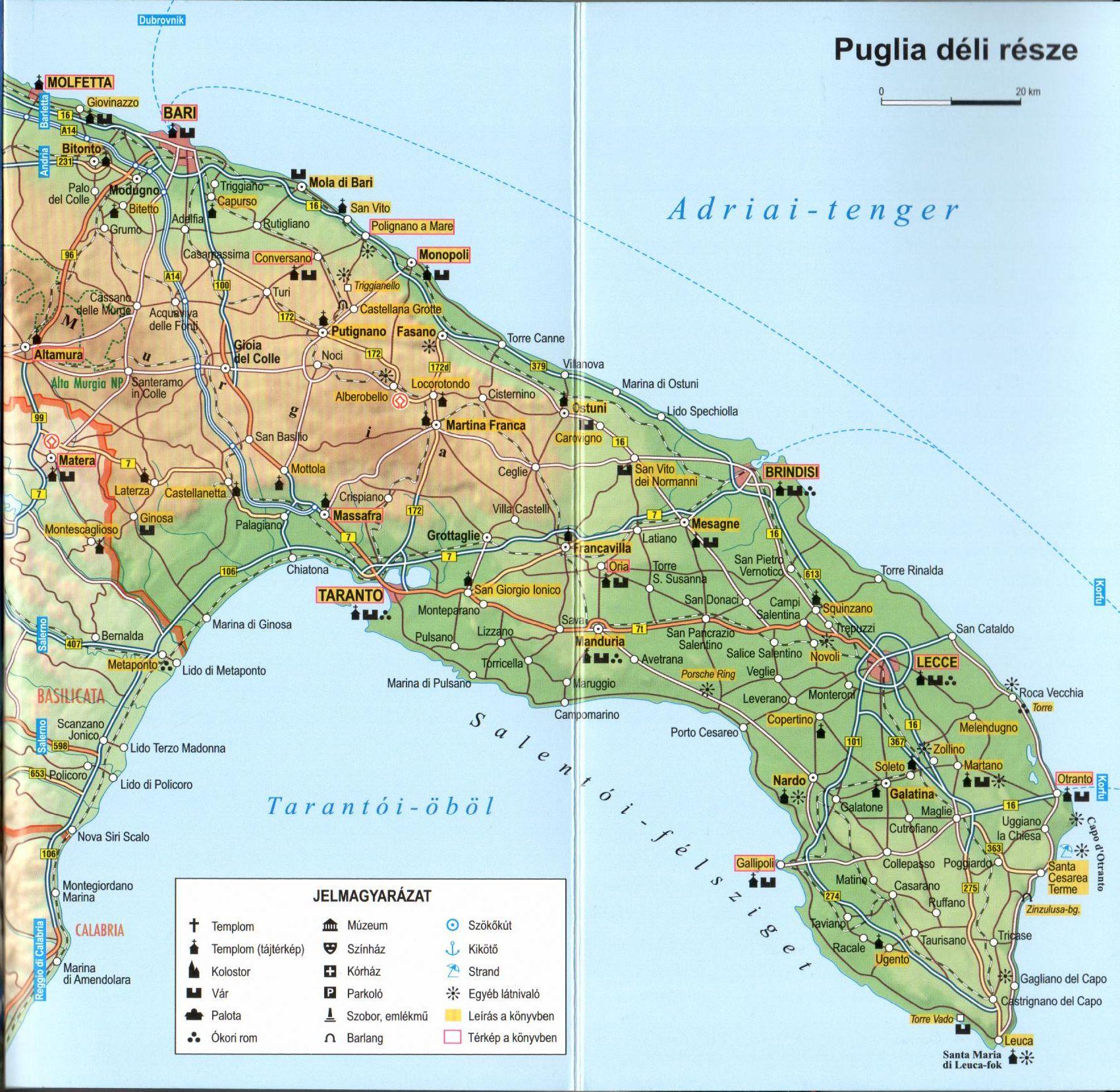 Puglia térkép mintakivágat