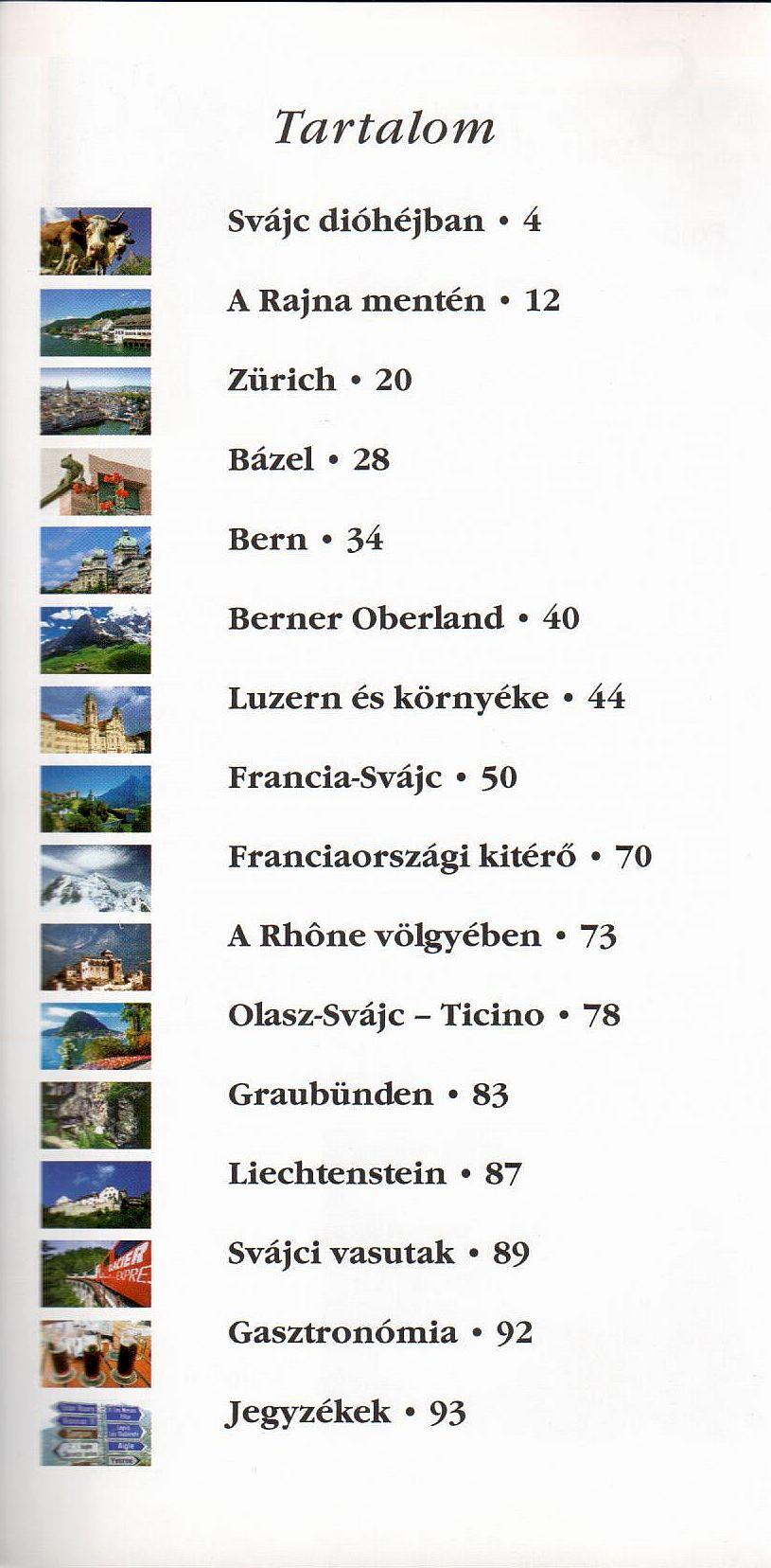 Svájc tartalomjegyzék