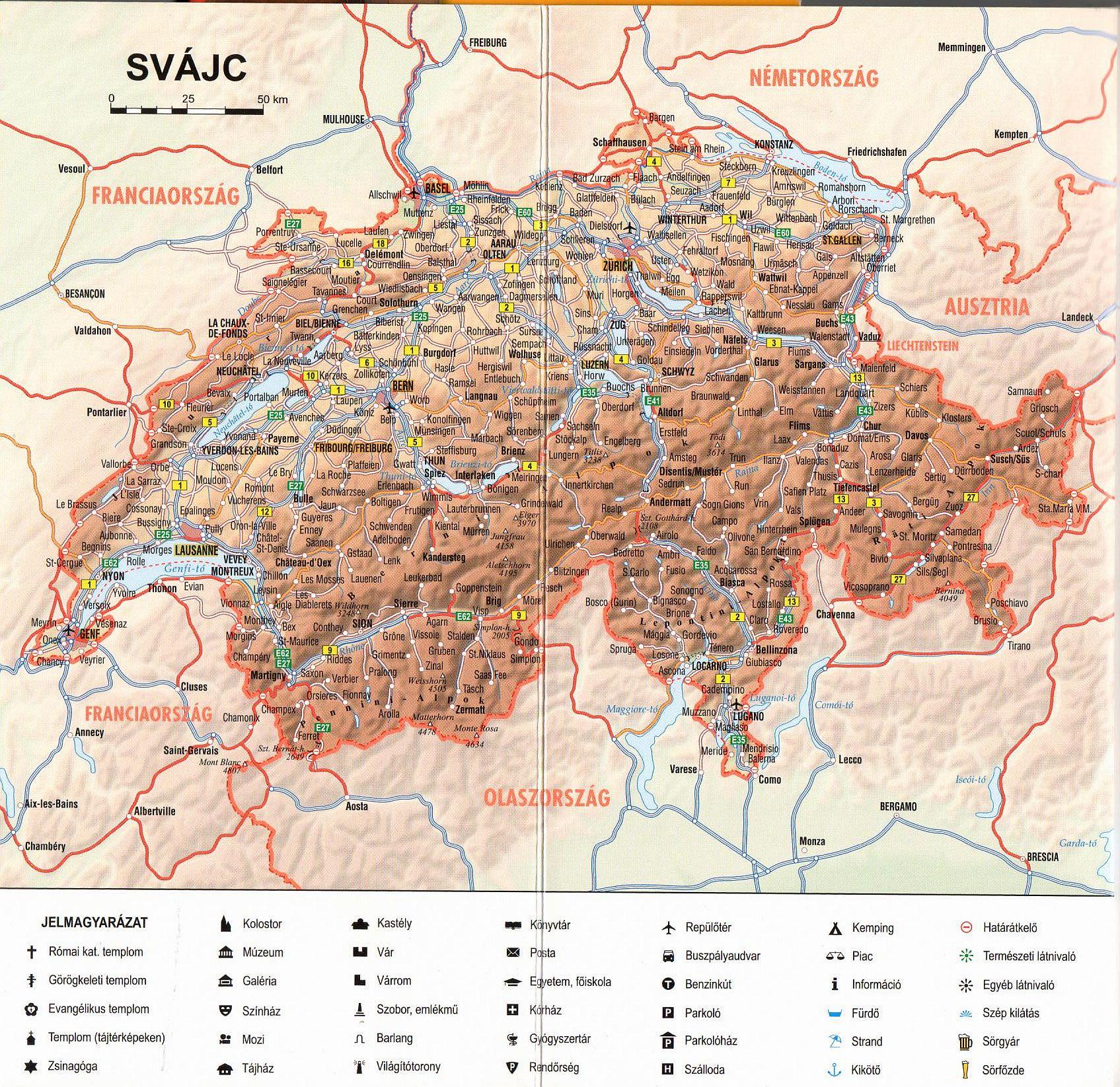 Svéjc térkép