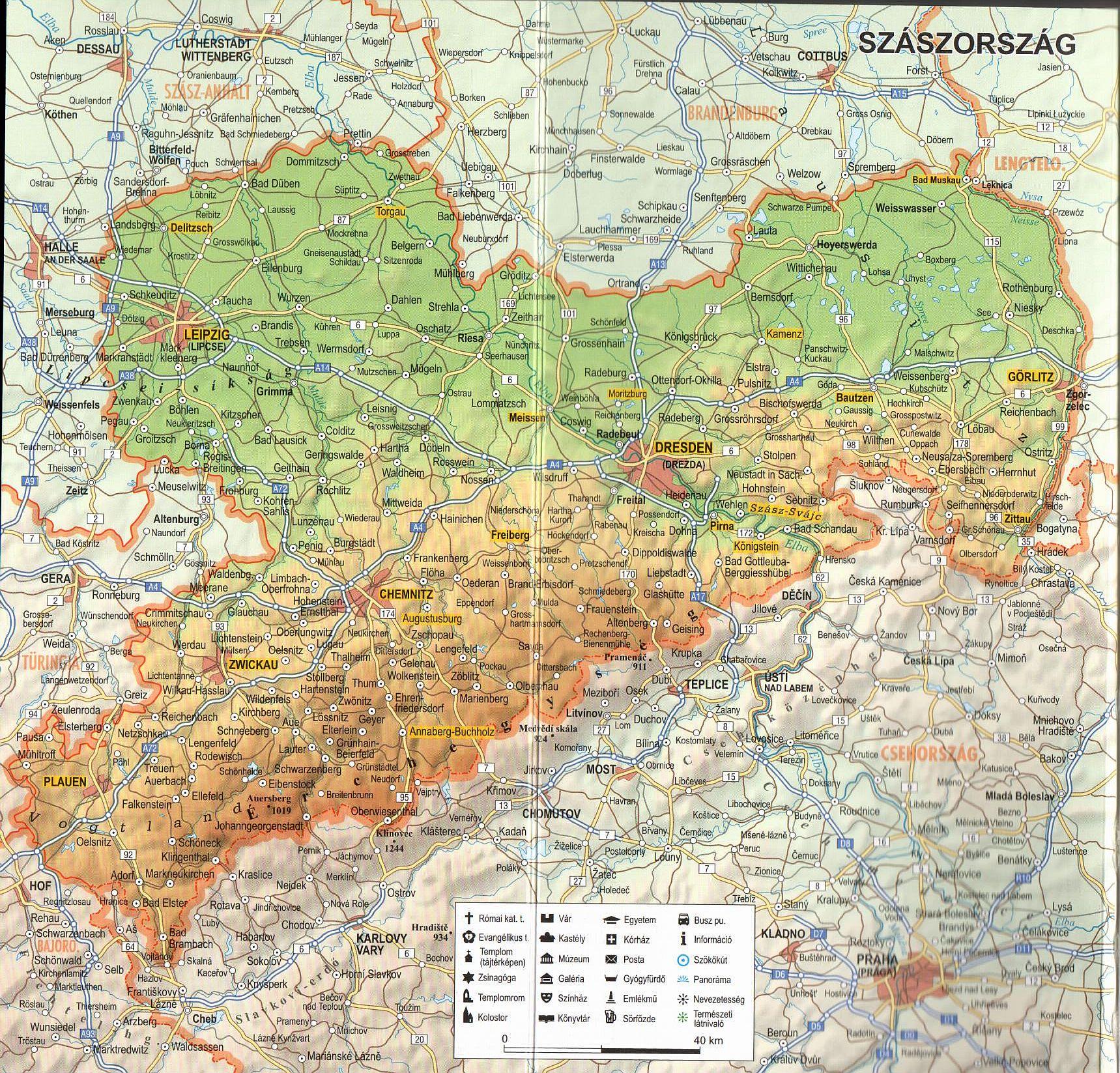Szászország térkép minta