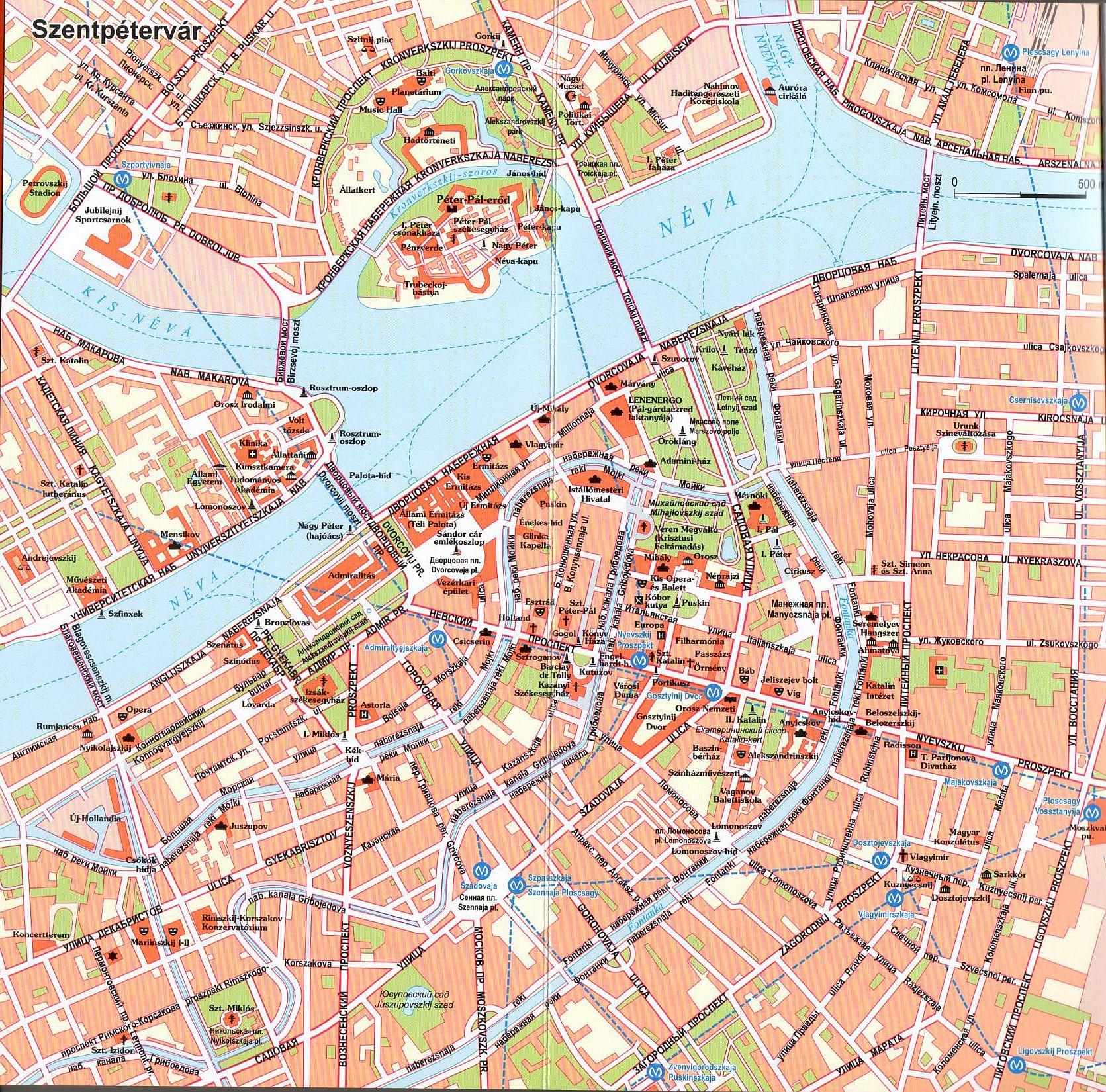 Szentpétervár térkép minta