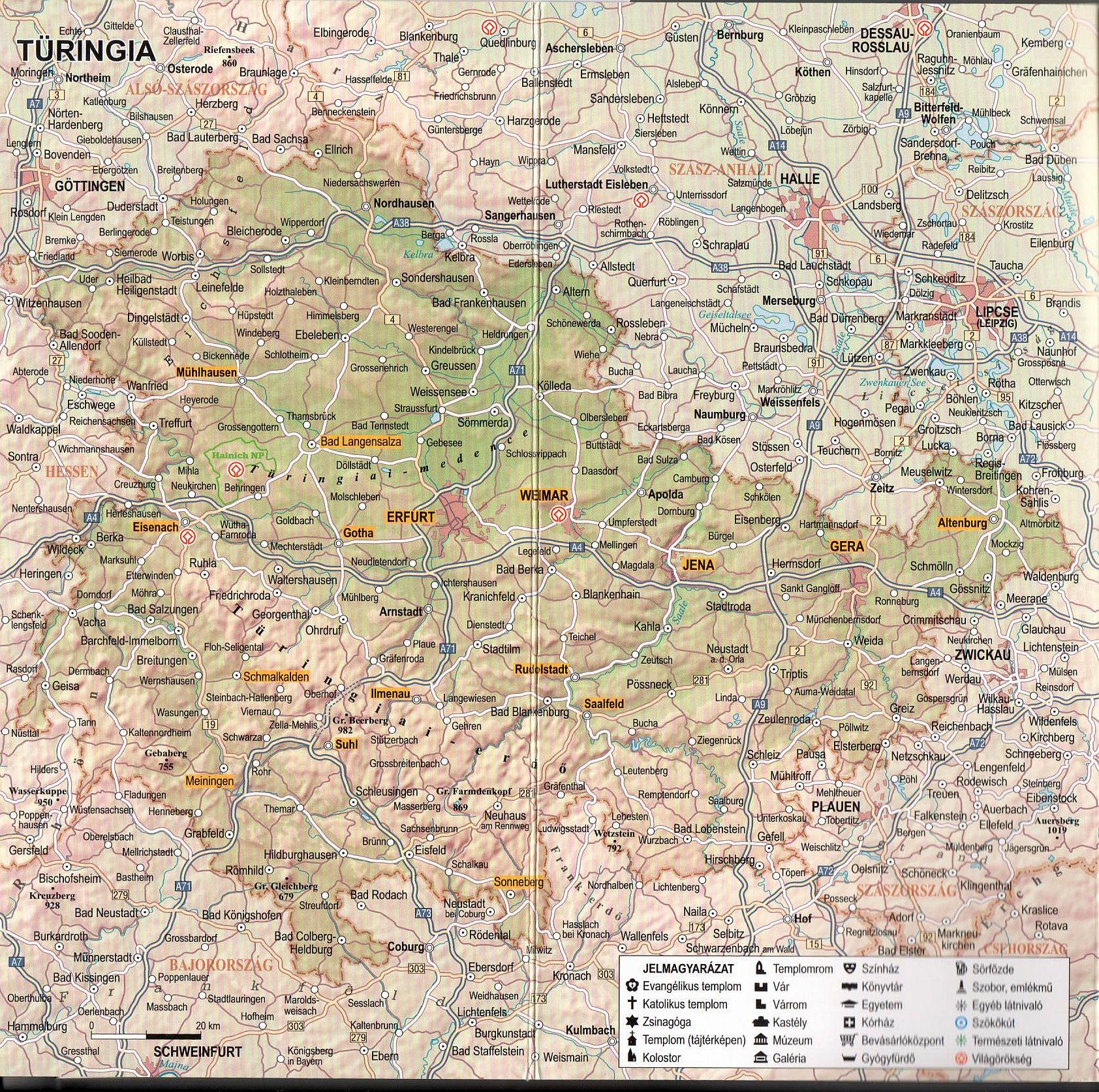 Türingia térkép mintakivágat